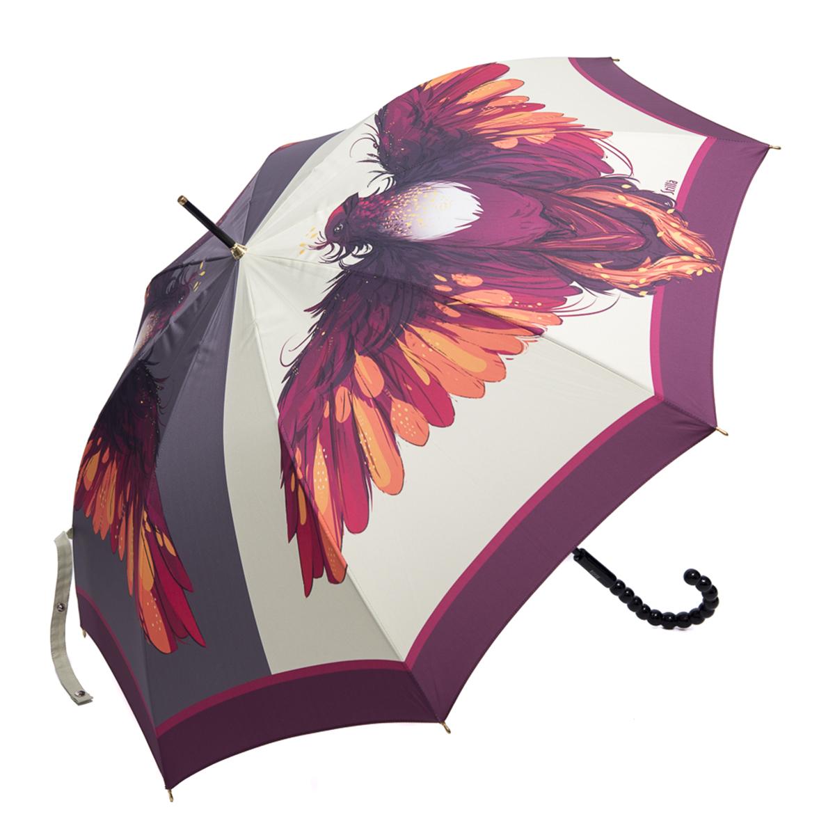 Зонт-трость женский Stilla, цвет: молочный, пурпурный, оранжевый. 760/1 autoКолье (короткие одноярусные бусы)Зонт-трость Stilla надежно защитит вас от дождя. Купол, оформленный оригинальным принтом, выполнен из высококачественного ПВХ, который не пропускает воду.Каркас зонта и спицы выполнены из высококарбонистой стали. Зонт имеет автоматический тип сложения: открывается и закрывается при нажатии на кнопку. Удобная ручка выполнена из пластика.