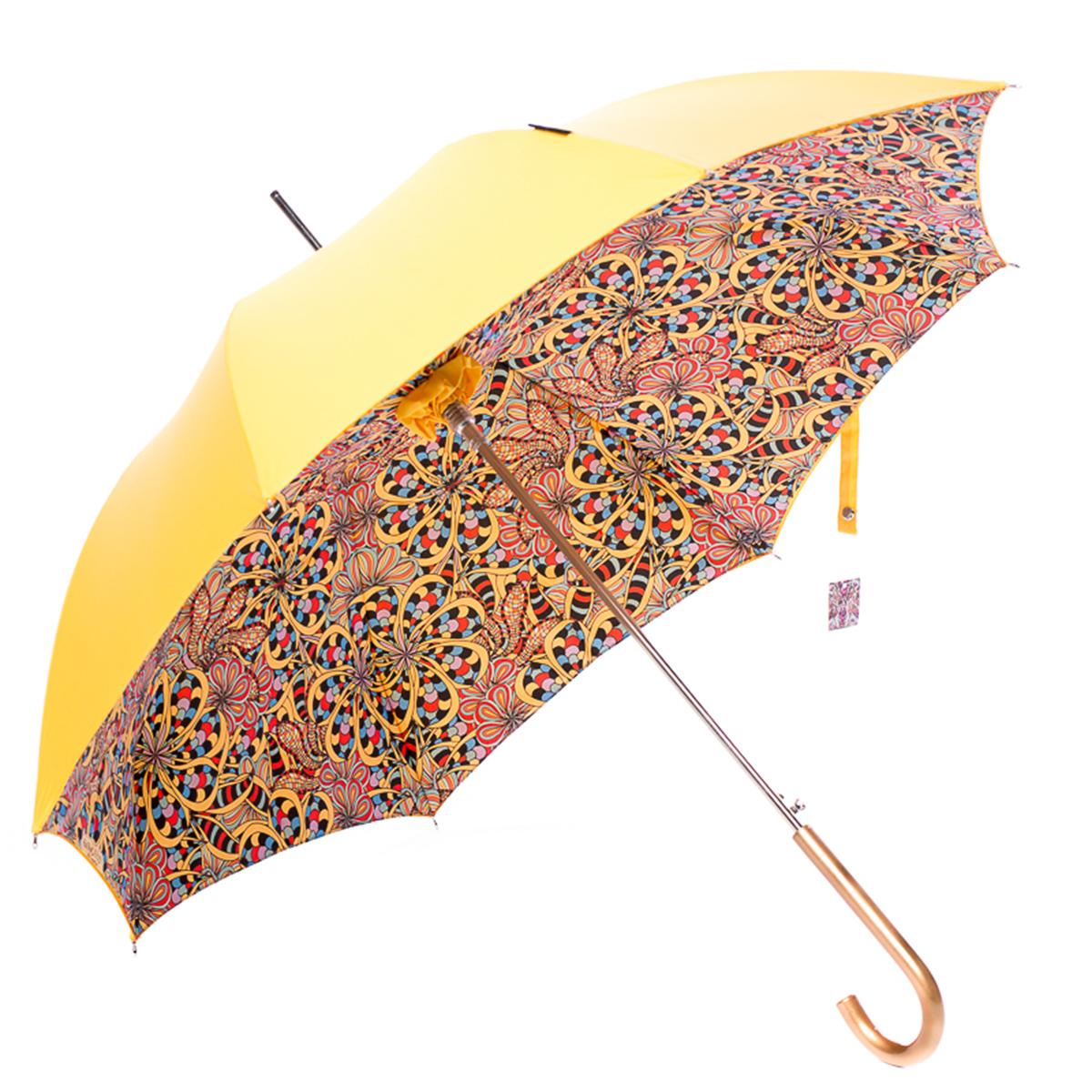 Зонт-трость женский Slava Zaitsev, цвет: желтый. SZ-069/1 DoubleREM12-BLACKДвухкупольный зонт-трость с дизайном В.М. Зайцева. Внешний купол однотонный, внутренний с дизайном. Спицы спрятаны между двуми слоями ткани. Автоматическое открытие, спицы и шток из высококарбонистой стали. Ткань - полиэстер. Диаметр купола 105 см по нижней части. Длина в сложенном состоянии - 95 см.