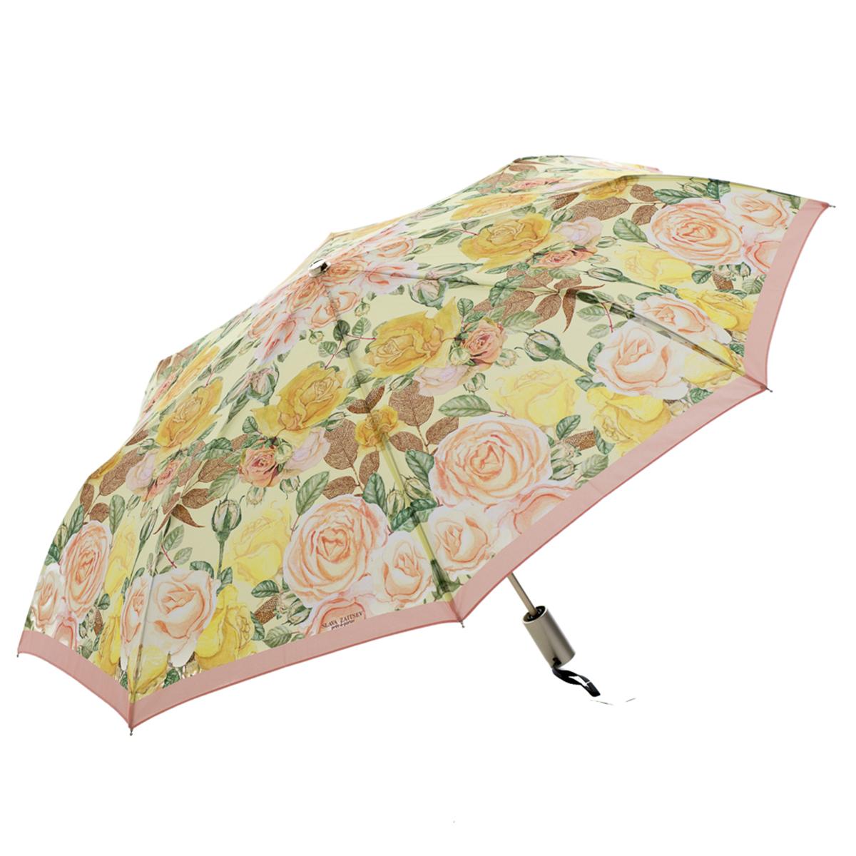 Зонт-трость женский Slava Zaitsev, механика, цвет: желтый. SZ-082YY-11678-3Оригинальный зонт Slava Zaitsev надежно защитит вас от непогоды. Купол, выполненный из высококачественного полиэстера, который не пропускает воду, оформлен оригинальным принтом. Каркас зонта и спицы выполнены из высококачественного металла. Зонт имеет автоматический тип сложения: открывается и закрывается при нажатии на кнопку. Удобная ручка выполнена из пластика.