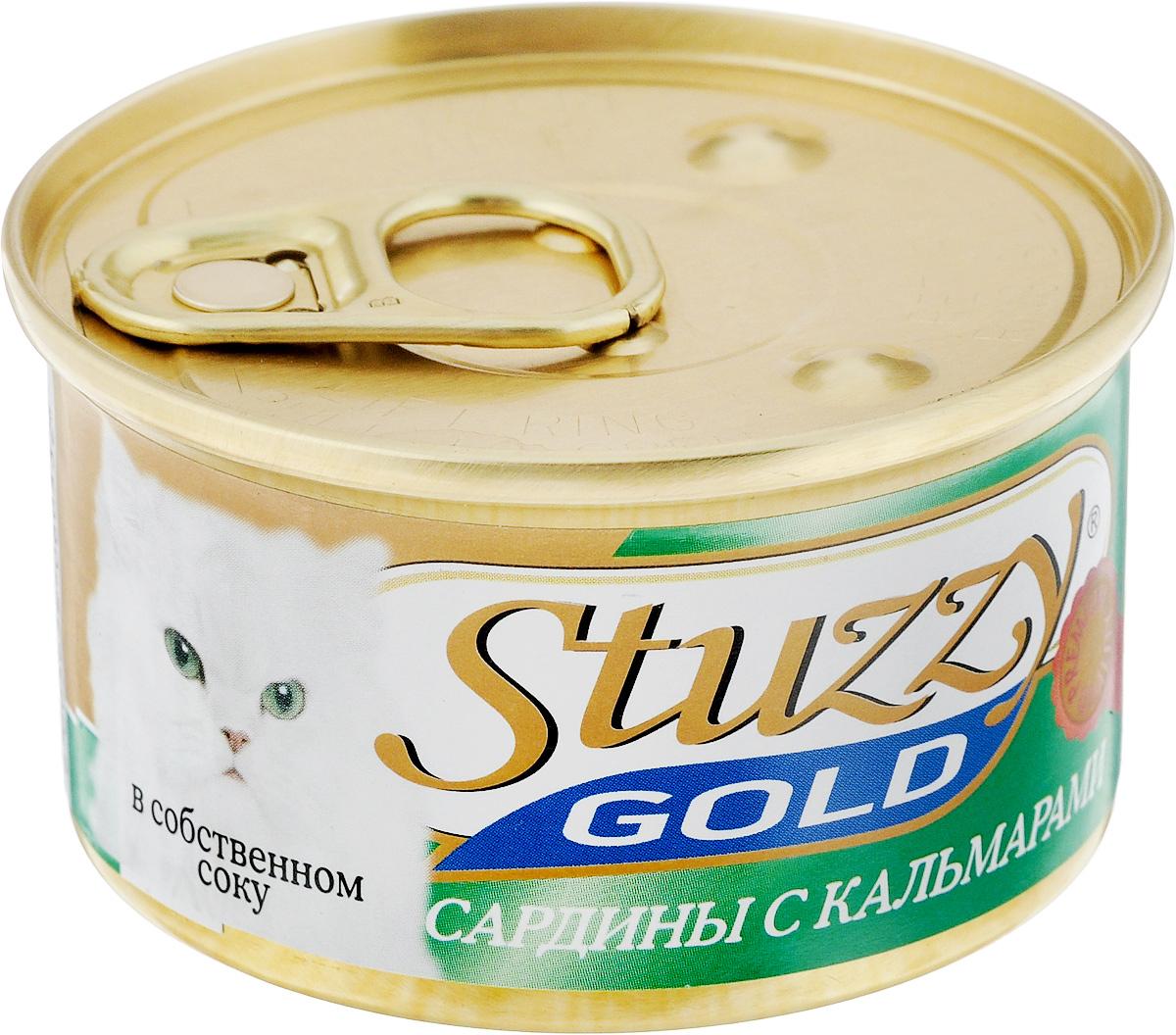 Консервы для взрослых кошек Stuzzy Gold, сардины с кальмарами в собственном соку, 85 г130.3.104Консервы для кошек Stuzzy Gold - это дополнительный рацион для взрослых кошек. Корм обогащен таурином и витамином Е для поддержания правильной работы сердца и иммунной системы. Инулин обеспечивает всасывание питательных веществ, а биотин способствуют великолепному внешнему виду кожи и шерсти. Корм приготовлен на пару, не содержит красителей и консервантов. Состав: субпродукты морепродуктов: сардины 57,6%, кальмары 4,7%, креветки 2,4%, мидии 0,9%.Питательная ценность: белок 11,2%, жир 2,8%, клетчатка 0,1%, зола 2,6%, влажность 82%.Питательные добавки (на кг): витамин А 1325 МЕ, витамин D3 110 МЕ, витамин Е 15 мг,таурин 160 мг.Товар сертифицирован.