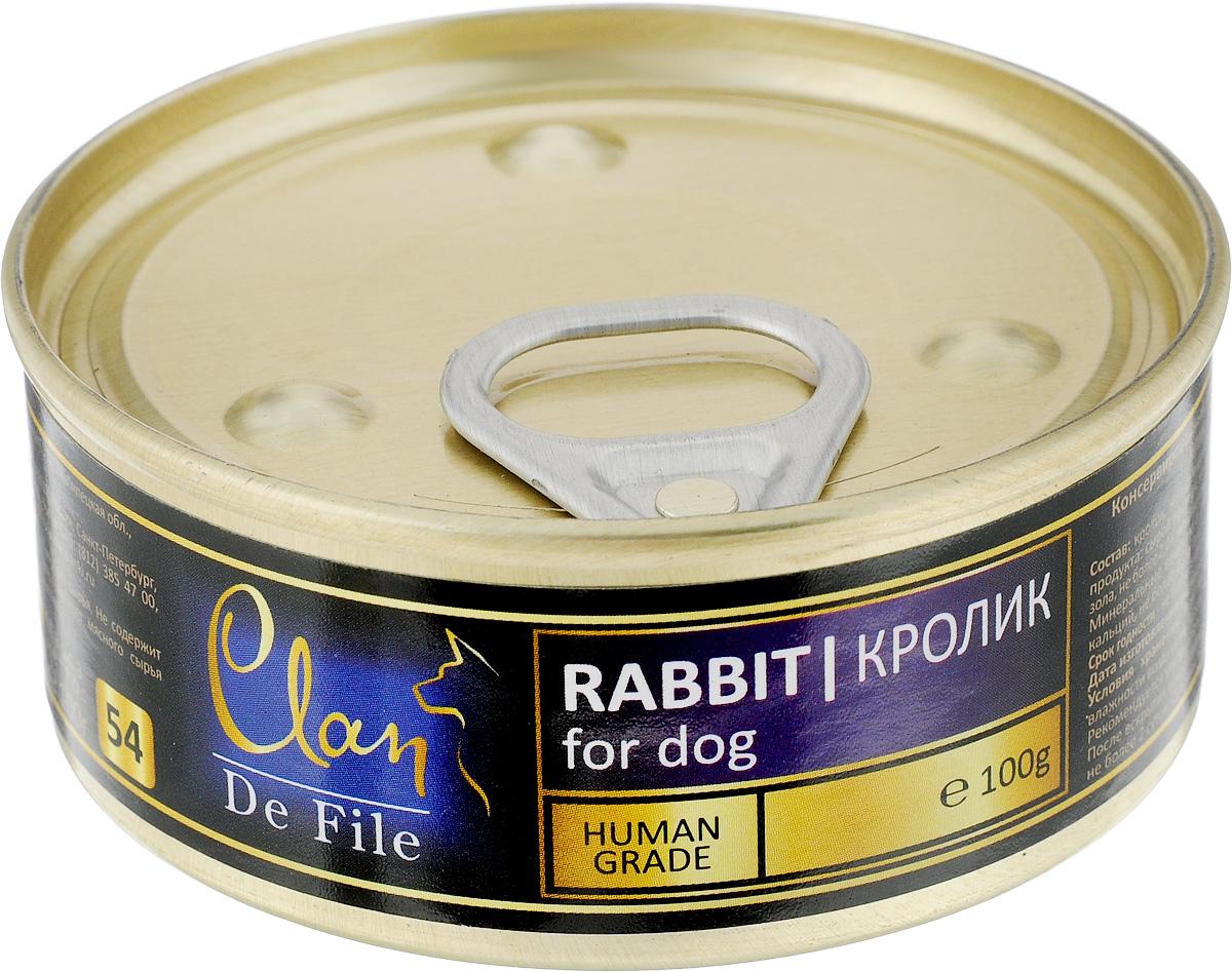 Консервы для собак Clan De File, с кроликом, 100 г0120710Clan De File - полнорационный влажный корм для каждодневного питания собак. У корма насыщенный вкус и сбалансированный состав. Консервы изготовлены из высококачественного мясного сырья. Для производства корма используется щадящая технология, бережно сохраняющая максимум питательных веществ и витаминов, отборное сырье и специально разработанная рецептура, которая обеспечивает продукции изысканный деликатесный вкус и ярко выраженный аромат. Товар сертифицирован.