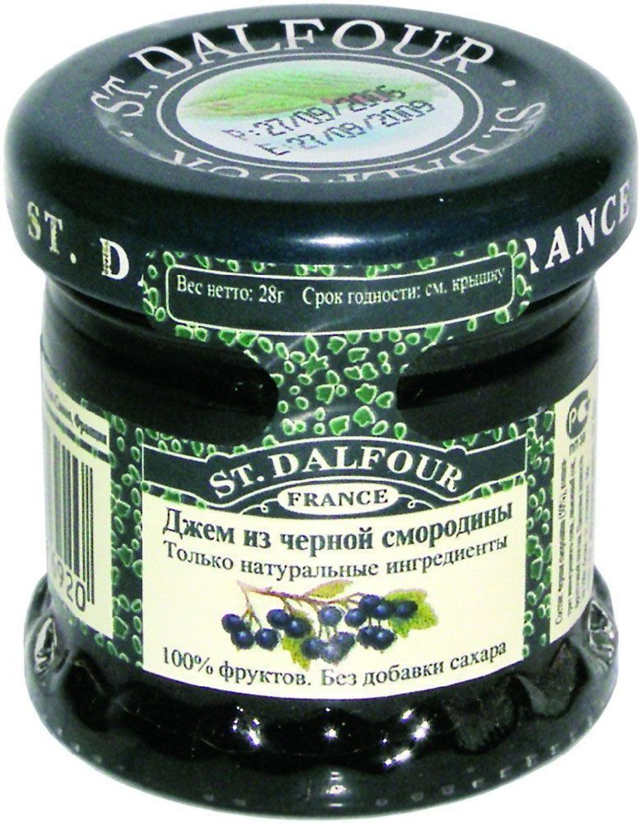 St.Dalfour Джем Черная смородина, 28 г1093Без добавления сахара, консервантов, искусственных ароматизаторов и красителей. Содержит только натуральные ингредиенты.