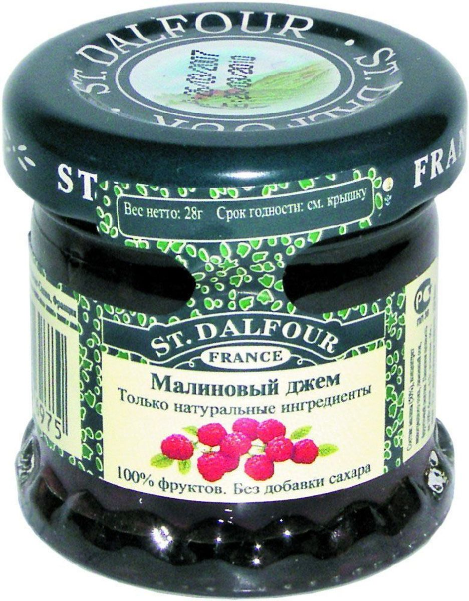 St.Dalfour Джем Малина, 28 г0120710Без добавления сахара, консервантов, искусственных ароматизаторов и красителей. Содержит только натуральные ингредиенты.