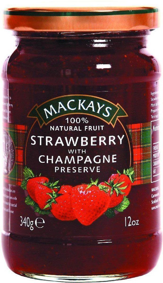 Mackays Десерт ягодный из клубники с шампанским, 340 г0120710Для приготовления джемов используют только местные шотландские ягоды наивысшего качества с ягодных полей Пертшира, которые считаются одними из лучших в мире. Сервируйте роскошный завтрак с этим джемом из шотландской клубники с добавлением шампанского.
