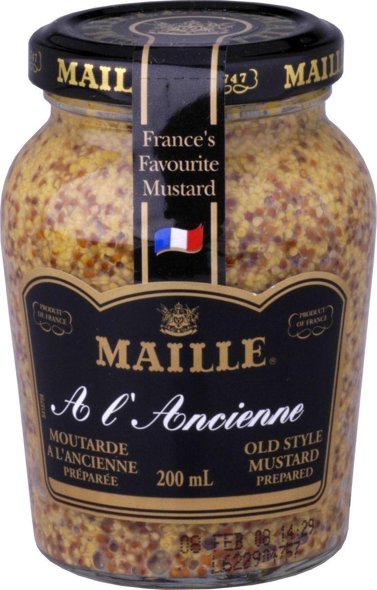 Maille Горчица Традиционная, 200 мл0120710Традиционная зернистая горчица, созданная по старинному французскому рецепту. Подходит для всех типов блюд и для овощных салатов.