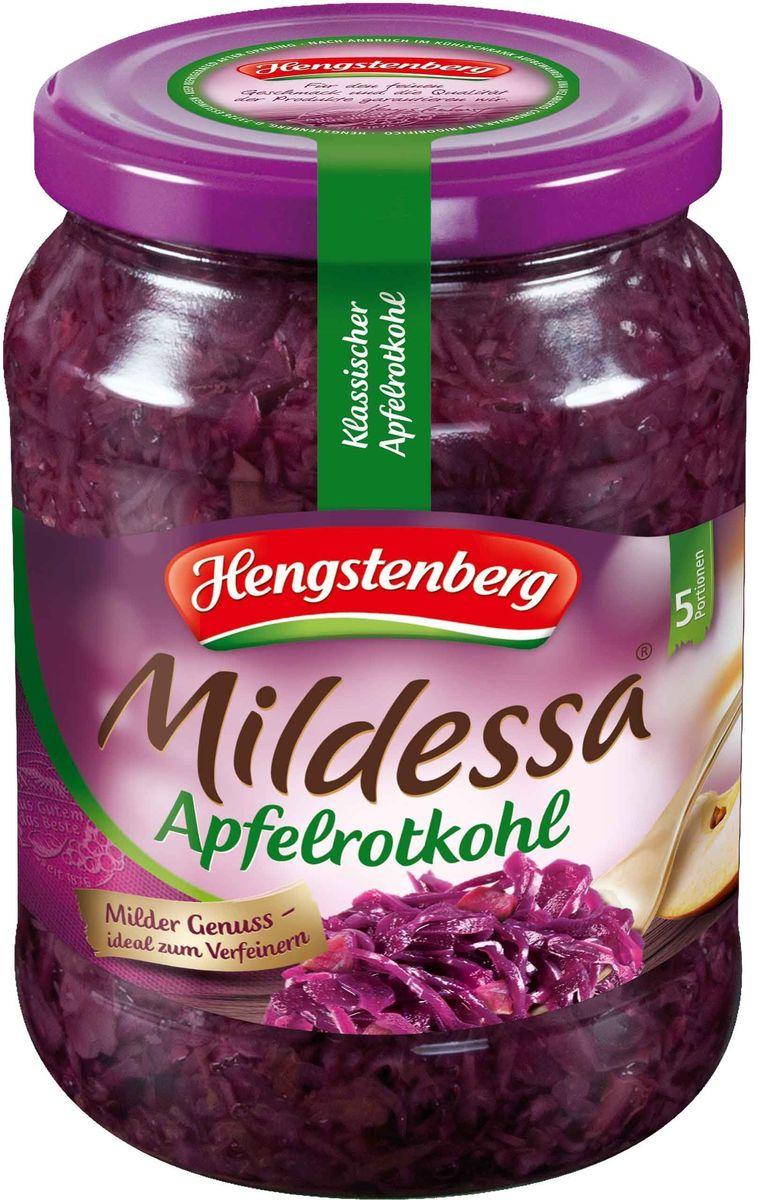 Hengstenberg Милдесса капуста краснокочанная с яблоками, 720 мл0440100Краснокочанная капуста характеризуется долгим хранением. Она пригодна для гарниров, салатов, квашения и маринования.
