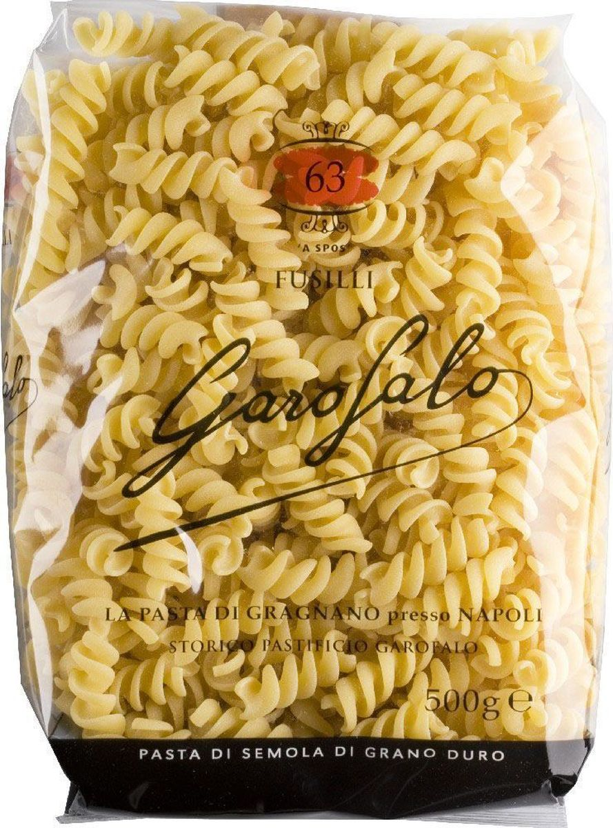 Garofalo Фузилли спирали № 63, 500 г259504Фузилли (итал. fusilli — маленькие спиральки) — разновидность лапши, классическая итальянская паста в виде спирали из твердых сортов пшеницы. Подаются с очень густыми соусами или в макаронных салатах.