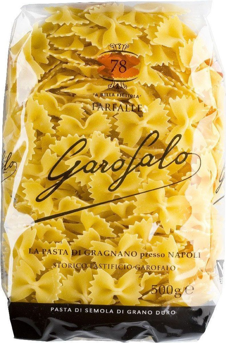 Garofalo Фарфалле бантики № 78, 500 г24Паста в форме бабочек из твердых сортов пшеницы. В России эти макаронные изделия продаются под названием бантики. Фарфалле – за ее оригинальную форму - особенно любят дети.