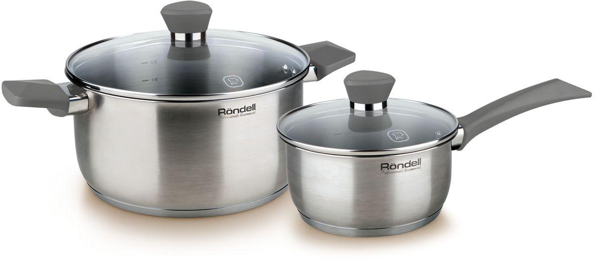 Набор посуды Rondell Strike, 4 предмета. RDS-81954 009312Набор 4 предмета (кастрюля 20 см, ковш 16 см) серые ручки Strike Rondell