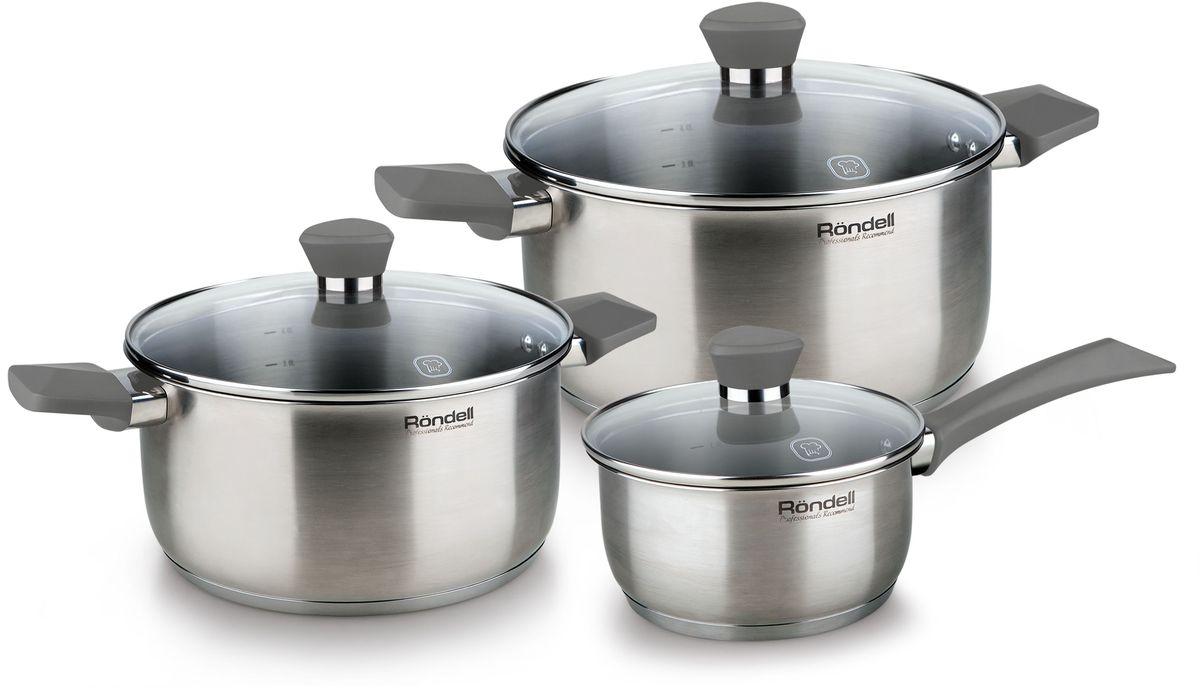 Набор посуды Rondell Strike, 6 предметов. RDS-82054 009312Набор 6 предметов (кастрюли 20 см, 24 см, ковш 16 см) серые ручки Strike Rondell
