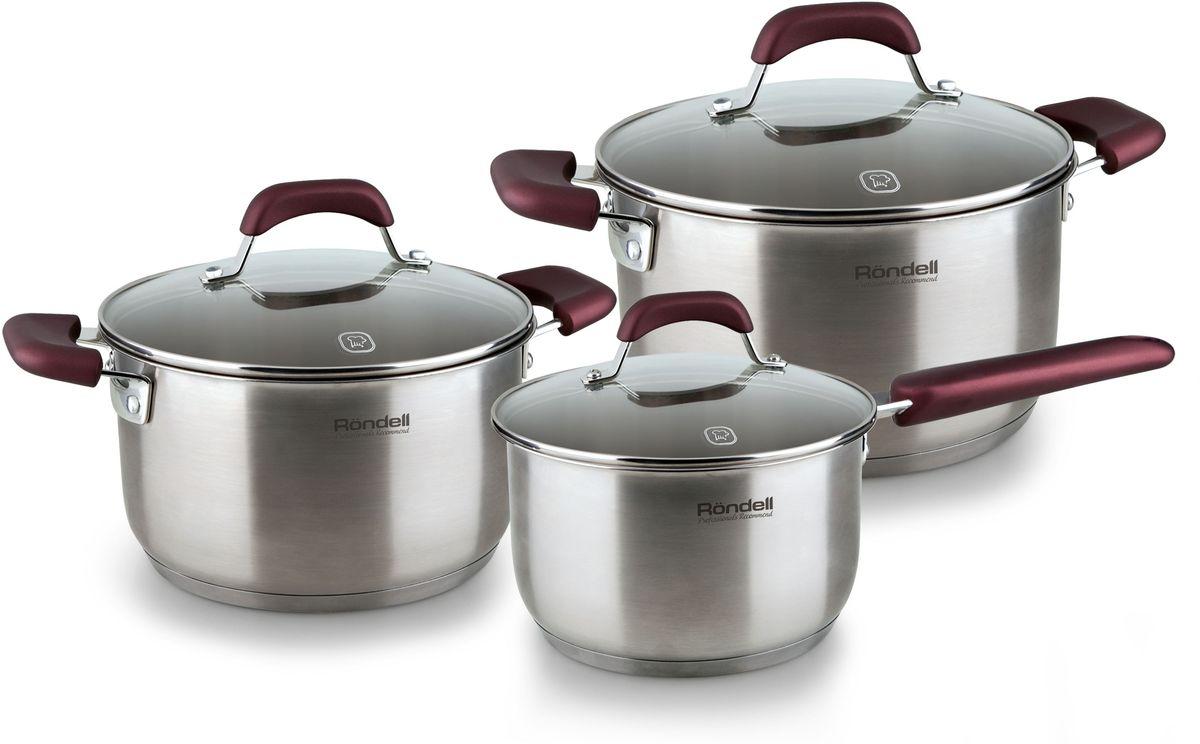 Набор посуды Rondell Bojole, 6 предметов. RDS-82354 009303Набор 6 предметов (кастрюли 20 см, (3,3 л), 24 см, (5,6 л), ковш 16 см, (1,7 л) Bojole