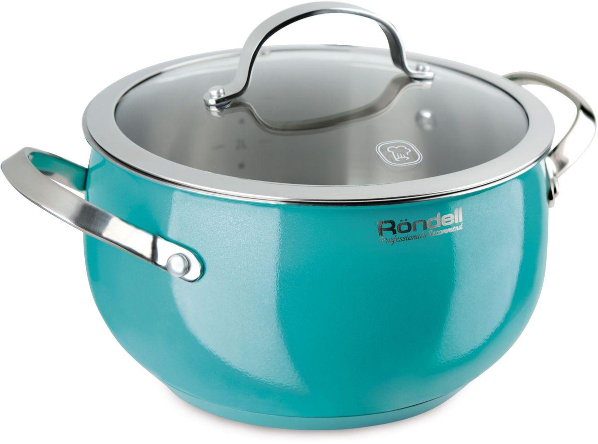 Кастрюля Rondell Turquoise, с крышкой, 3,8 л. RDS-718FS-91909Кастрюля с крышкой 20 см (3,8 л) Turquoise Rondell