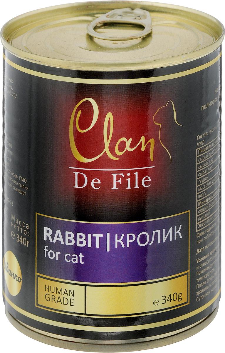 Консервы для кошек Clan De File, с кроликом, 340 г00-00001448Консервы Clan De File - это полнорационный корм для кошек. Консервы изготовлены из высококачественного мясного сырья Категория используемого мясного сырья Human Grade (человеческий стандарт качества). Корм имеет насыщенный вкус и сбалансированный состав. Не содержит сои, ГМО и ароматизаторов. Аппетитный вид, удивительный аромат и приятный вкус консервов понравится вашему питомцу! Товар сертифицирован.