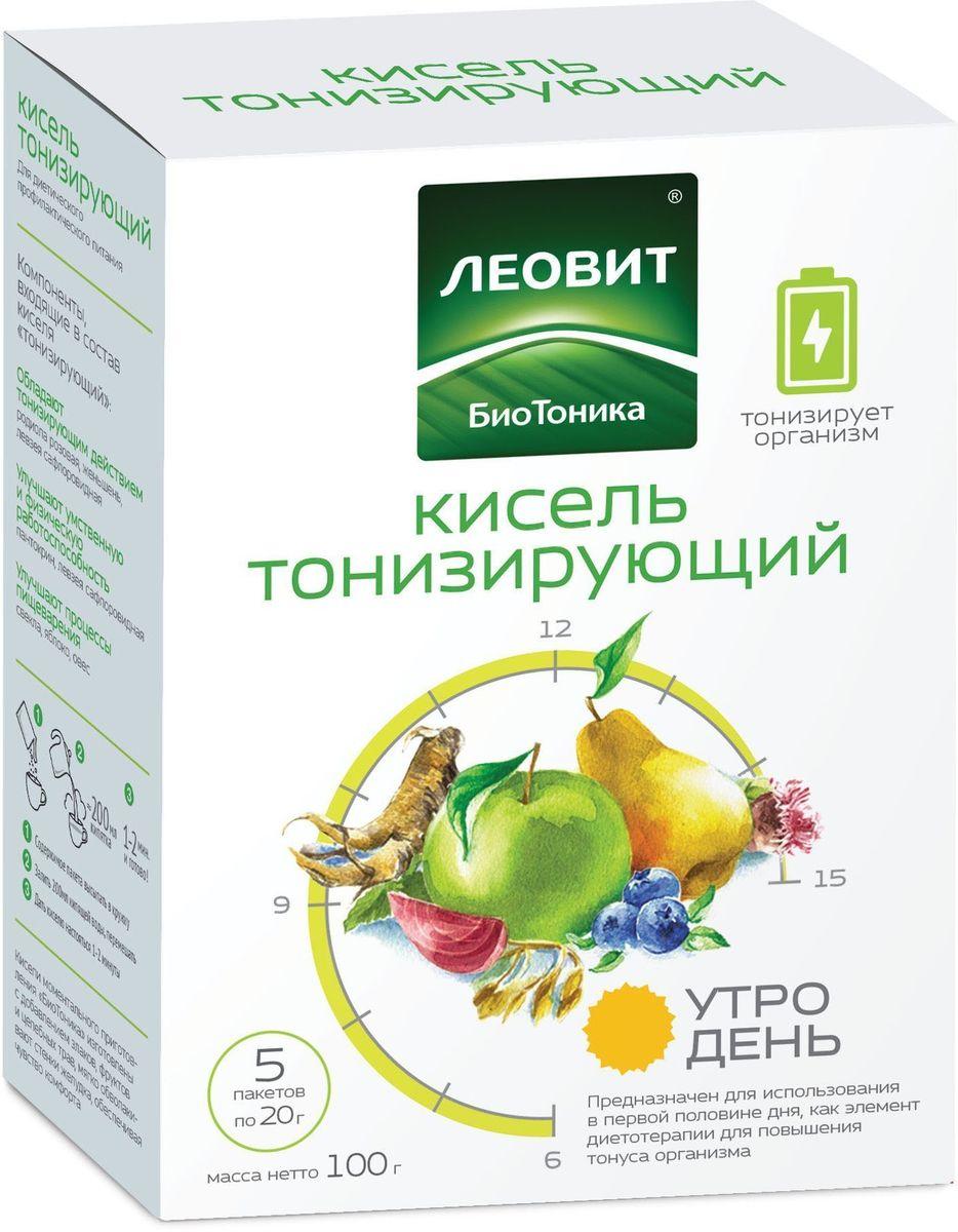 БиоТоника Кисель тонизирующий, 5 пакетов по 20 г13001110200004Кисель тонизирующий – вкусный бодрящий напиток для первой половины дня. Предназначен для диетического профилактического питания и использования в первой половине дня в качестве элемента диетотерапии при пониженном тонусе организма.Фрукты, ягоды и овощи – яблоко, груша, черника, свекла. Злаки, экстракты женьшеня, левзеи сафлоровидной и родиолы розовой.Без искусственных красителей и консервантов.