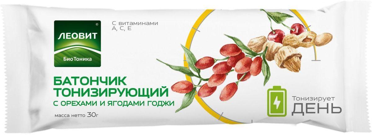 БиоТоника Батончик тонизирующий с орехами и ягодами годжи, 30 гУТ040810394Специально для людей, живущих в высоком темпе, мы создали батончик с орехами и ягодами, добавив в него витамины и биологически активные компоненты. Ягоды годжи, экстракт родиолы розовой и экстракт лимонника обладают тонизирующими и общеукрепляющими свойствами. Витамины C, E, A являются антиоксидантами. Состав батончика работает сразу в нескольких направлениях: поддерживает иммунную систему и повышает тонус организма. Захватите его в дорогу, на работу или занятия спортом. Будьте в тонусе!