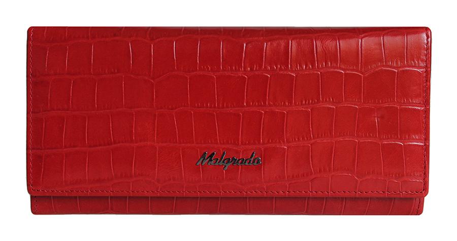 Кошелек Malgrado, цвет: красный. 72076-43702#BM8434-58AEСтильный кошелек Malgrado выполнен из лаковой натуральной кожи красного цвета с декоративным тиснением под крокодила. Внутри расположены пять основных отделений, два из которых на молнии, три горизонтальных кармана для бумаг, девять кармашков для кредитных карт, карман с клапаном и три отделения для купюр. На внешней стороне кошелька расположен карман на молнии. Кошелек упакован в подарочную металлическую коробку с логотипом фирмы. Такой кошелек станет замечательным подарком человеку, ценящему качественные и практичные вещи. Характеристики:Материал: натуральная кожа, текстиль, металл. Размер кошелька: 18,5 см х 8,5 см х 3 см. Цвет: красный.Размер упаковки: 23 см х 13 см х 5 см. Артикул: 72076-43702#.
