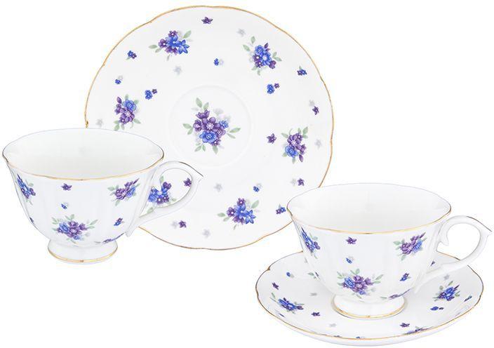 Чайная пара Elan Gallery Сиреневый туман, 4 предмета54 009312Шикарная чайная пара на 2 персоны в нежных тонах украсит ваше чаепитие. В комплекте 2 чашки на ножке объемом 250 мл, 2 блюдца. Изделие имеет прозрачную подарочную упаковку, поэтому станет желанным подарком для ваших близких, коллег и друзей!