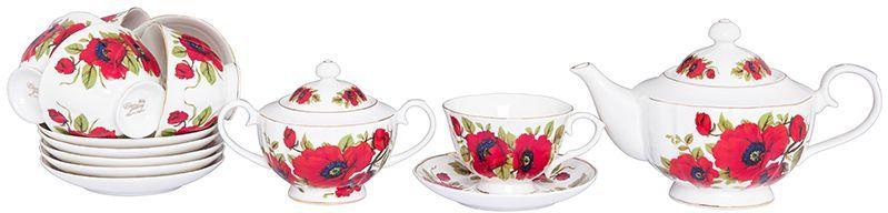Набор чайный Elan Gallery Маки, 14 предметовVT-1520(SR)Чайный набор Elan Gallery Макисостоит из 6 чашек, 6 блюдец, сахарницы изаварочного чайника. Изделия, выполненные извысококачественного фарфора, имеютэлегантный дизайн и классическую форму.Такой набор прекрасно подойдет как дляповседневного использования, так и дляпраздников. Чайный набор Elan Gallery Маки -этоне только яркий и полезный подарок для родныхи близких, а также великолепное решение длявашей кухни или столовой. Не использовать в микроволновой печи.Объем чашки: 250 мл. Объем чайника: 1,1 л. Объем сахарницы: 400 мл.
