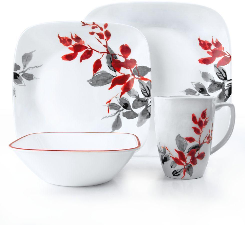 Набор столовой посуды Corelle Kyoto Leaves, 16 предметов. 1101078115510Посуда Corelle мирового бренда WorldKitchen сделана из материала Vitrelle. Стекло Vitrelle является экологически чистым материалом без посторонних добавок. Идеальный белый цвет посуды достигается путем сверхвысокой термической обработки компонентов. Vitrelle сверхпрочный материал, используемый для столовой посуды, изобретенный в начале 1970х в Соединенных Штатах Америки. Материал сделан из трех слоев стекла спеченных вместе. Посуда Vitrelle тонка и легка при том, что является более ударопрочной по сравнению с обычной столовой посудой. Соль, полевой шпат, известняк, и 2 других вида соли попадают в печь, где при 1400 градусов Цельсия превращаются в жидкое стекло. Стекло заливается в молды, где соединяются 3 слоя в один. Края посуды обрабатываются огненной полировкой. Проходя через дополнительную обработку, три слоя приобретают сверхпрочность. Путем шелкографии на днище наносится бренд, а так же дополнительная информация. Узор на посуде так же наносится путем шелкографии. Готовая посуда подвергается воздействию 800 градусов для закрепления узора. В конце посуда обрабатывается спреем на основе силикона для исключения царапин при транспортировке.