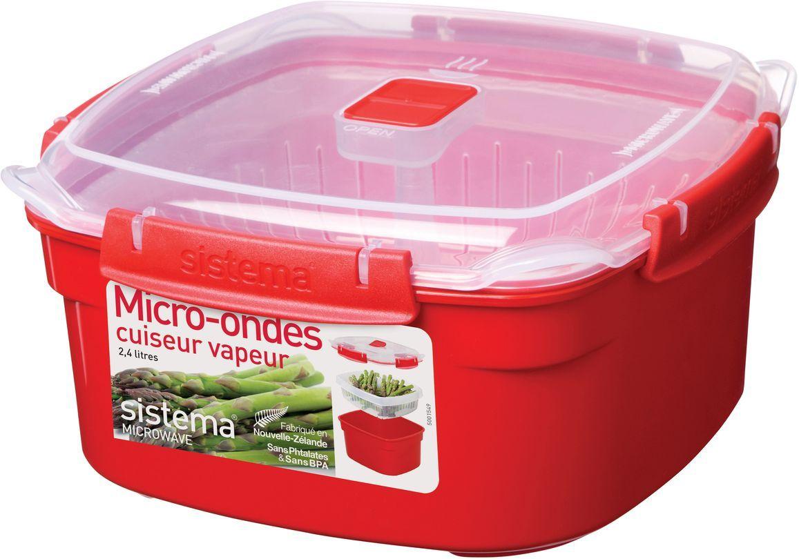 Контейнер пищевой Sistema Microwave, 2,4 л, цвет: красный. 110221395599Особенности линейки:Используя высококачественные контейнеры бренда Sistema, производства Новая Зеландия, Вы с легкостью сможете не только разогреть пищу в СВЧ, но и приготовить ее. Нет ничего более полезного, чем приготовление на пару в контейнерах Sistema. Просто налейте воды в базовый контейнер, поместите пищу в пластиковый дуршлаг, откройте на крышке клапан пароотвода и поместите все в микроволновую печь. Через несколько минут вы можете насладиться божественной пищей. Время приготовления может варьироваться в зависимости от мощности СВЧ.Материал контейнера не выделяет фенол в готовящуюся пищу.