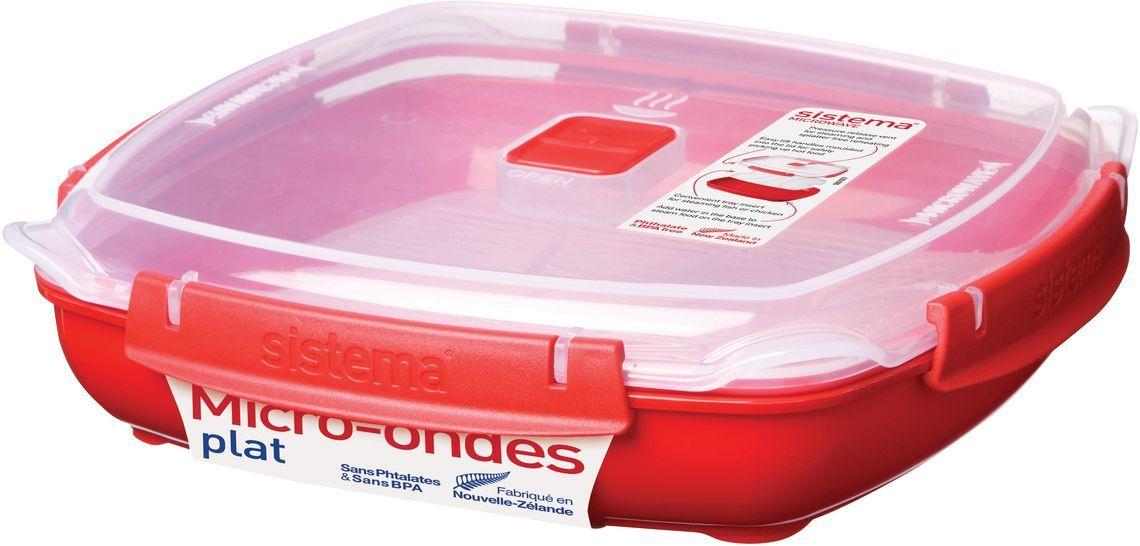 Контейнер пищевой Sistema Microwave, 1,3 л, цвет: красный. 1106VT-1520(SR)Особенности линейки:Используя высококачественные контейнеры бренда Sistema, производства Новая Зеландия, Вы с легкостью сможете не только разогреть пищу в СВЧ, но и приготовить ее. Нет ничего более полезного, чем приготовление на пару в контейнерах Sistema. Просто налейте воды в базовый контейнер, поместите пищу в пластиковый дуршлаг, откройте на крышке клапан пароотвода и поместите все в микроволновую печь. Через несколько минут вы можете насладиться божественной пищей. Время приготовления может варьироваться в зависимости от мощности СВЧ.Материал контейнера не выделяет фенол в готовящуюся пищу.
