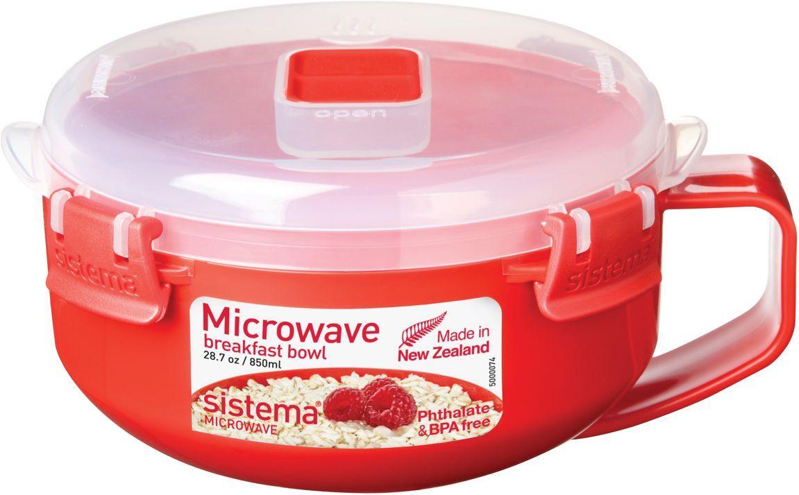 Чаша для завтрака Sistema Microwave, 850 мл, цвет: красный. 1112ПЦ2360ЛМОсобенности линейки:Используя высококачественные контейнеры бренда Sistema, производства Новая Зеландия, Вы с легкостью сможете не только разогреть пищу в СВЧ, но и приготовить ее. Нет ничего более полезного, чем приготовление на пару в контейнерах Sistema. Просто налейте воды в базовый контейнер, поместите пищу в контейнер, откройте на крышке клапан пароотвода и поместите все в микроволновую печь. Через несколько минут вы можете насладиться божественной пищей. Время приготовления может варьироваться в зависимости от мощности СВЧ.Материал контейнера не выделяет фенол в готовящуюся пищу.