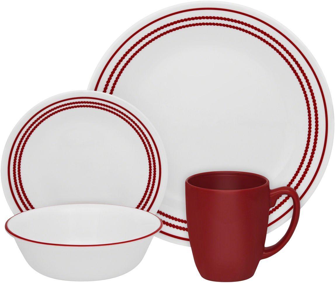 Набор столовой посуды Corelle Ruby Red, 16 предметов. 1114016115510Посуда Corelle мирового бренда WorldKitchen сделана из материала Vitrelle. Стекло Vitrelle является экологически чистым материалом без посторонних добавок. Идеальный белый цвет посуды достигается путем сверхвысокой термической обработки компонентов. Vitrelle сверхпрочный материал, используемый для столовой посуды, изобретенный в начале 1970х в Соединенных Штатах Америки. Материал сделан из трех слоев стекла спеченных вместе. Посуда Vitrelle тонка и легка при том, что является более ударопрочной по сравнению с обычной столовой посудой. Соль, полевой шпат, известняк, и 2 других вида соли попадают в печь, где при 1400 градусов Цельсия превращаются в жидкое стекло. Стекло заливается в молды, где соединяются 3 слоя в один. Края посуды обрабатываются огненной полировкой. Проходя через дополнительную обработку, три слоя приобретают сверхпрочность. Путем шелкографии на днище наносится бренд, а так же дополнительная информация. Узор на посуде так же наносится путем шелкографии. Готовая посуда подвергается воздействию 800 градусов для закрепления узора. В конце посуда обрабатывается спреем на основе силикона для исключения царапин при транспортировке.
