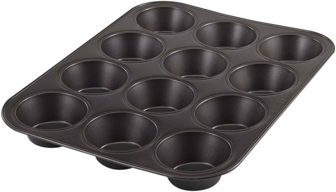 Форма для выпечки маффинов Bakers Secret Essentials, 12 ячеек, цвет: темно-серый. 1114366391602Коллекция форм для выпечки тортов Bakers Secret из США являются хорошим приобретением любой хозяйки. Данные товары пользуются спросом, поскольку их отличает высокое качество. Формы для запекания Bakers Secret - выполнены из высококачественной стали. Внешнее антипригарное покрытие для удобства ухода и утолщенные стенки гарантируют равномерное пропекание изделия. Стальные формы для запекания стали популярными намного позже чугунных и керамических, и главное их преимущество – это абсолютная химическая нейтральность. Качественная нержавеющая сталь никак не скажется на вкусе готовой пищи и не будет подвержена воздействию кислот и щелочей, содержащихся в моющих средствах. Можно мыть в посудомоечной машине.