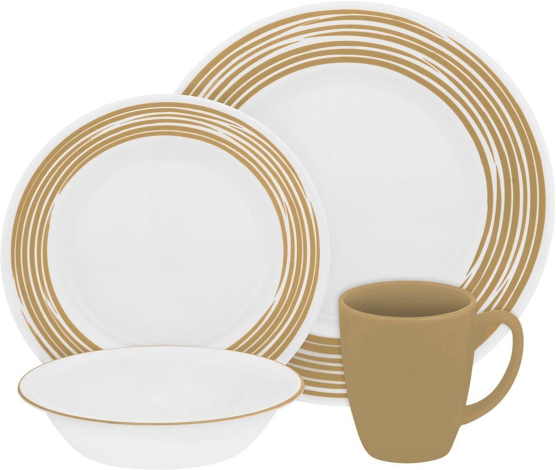 Набор столовой посуды Corelle Brushed Sand, 16 предметов. 1117021115510Посуда Corelle мирового бренда WorldKitchen сделана из материала Vitrelle. Стекло Vitrelle является экологически чистым материалом без посторонних добавок. Идеальный белый цвет посуды достигается путем сверхвысокой термической обработки компонентов. Vitrelle сверхпрочный материал, используемый для столовой посуды, изобретенный в начале 1970х в Соединенных Штатах Америки. Материал сделан из трех слоев стекла спеченных вместе. Посуда Vitrelle тонка и легка при том, что является более ударопрочной по сравнению с обычной столовой посудой. Соль, полевой шпат, известняк, и 2 других вида соли попадают в печь, где при 1400 градусов Цельсия превращаются в жидкое стекло. Стекло заливается в молды, где соединяются 3 слоя в один. Края посуды обрабатываются огненной полировкой. Проходя через дополнительную обработку, три слоя приобретают сверхпрочность. Путем шелкографии на днище наносится бренд, а так же дополнительная информация. Узор на посуде так же наносится путем шелкографии. Готовая посуда подвергается воздействию 800 градусов для закрепления узора. В конце посуда обрабатывается спреем на основе силикона для исключения царапин при транспортировке.