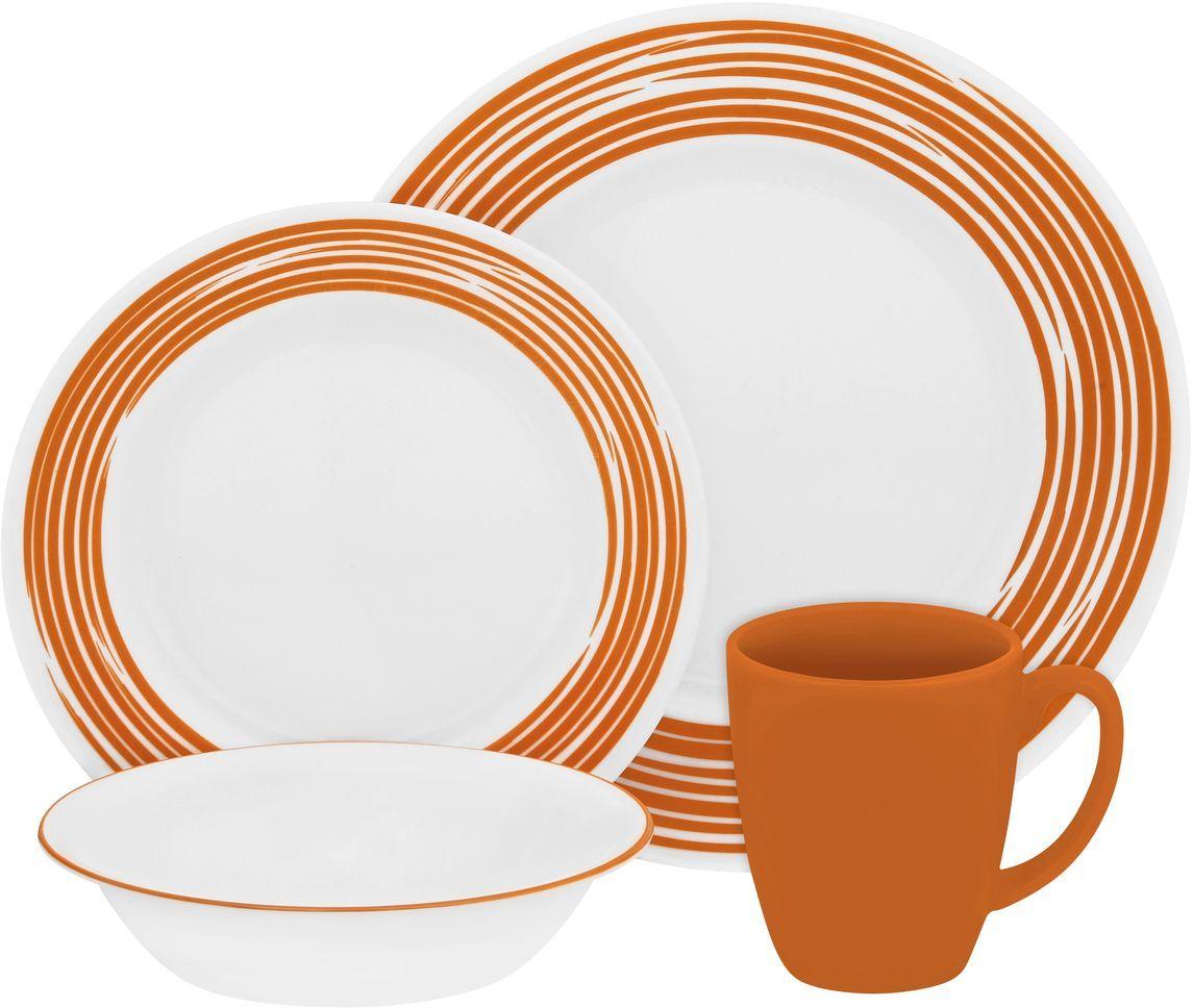 Набор столовой посуды Corelle Brushed Orange, 16 предметов. 1117024115510Посуда Corelle мирового бренда WorldKitchen сделана из материала Vitrelle. Стекло Vitrelle является экологически чистым материалом без посторонних добавок. Идеальный белый цвет посуды достигается путем сверхвысокой термической обработки компонентов. Vitrelle сверхпрочный материал, используемый для столовой посуды, изобретенный в начале 1970х в Соединенных Штатах Америки. Материал сделан из трех слоев стекла спеченных вместе. Посуда Vitrelle тонка и легка при том, что является более ударопрочной по сравнению с обычной столовой посудой. Соль, полевой шпат, известняк, и 2 других вида соли попадают в печь, где при 1400 градусов Цельсия превращаются в жидкое стекло. Стекло заливается в молды, где соединяются 3 слоя в один. Края посуды обрабатываются огненной полировкой. Проходя через дополнительную обработку, три слоя приобретают сверхпрочность. Путем шелкографии на днище наносится бренд, а так же дополнительная информация. Узор на посуде так же наносится путем шелкографии. Готовая посуда подвергается воздействию 800 градусов для закрепления узора. В конце посуда обрабатывается спреем на основе силикона для исключения царапин при транспортировке.