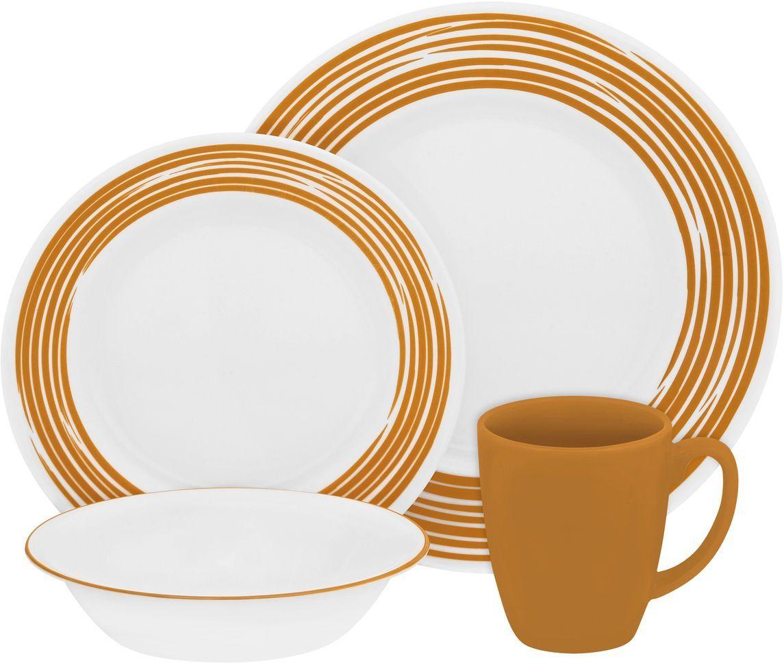 Набор столовой посуды Corelle Brushed Yellow, 16 предметов. 1117031FS-91909Посуда Corelle мирового бренда WorldKitchen сделана из материала Vitrelle. Стекло Vitrelle является экологически чистым материалом без посторонних добавок. Идеальный белый цвет посуды достигается путем сверхвысокой термической обработки компонентов. Vitrelle сверхпрочный материал, используемый для столовой посуды, изобретенный в начале 1970х в Соединенных Штатах Америки. Материал сделан из трех слоев стекла спеченных вместе. Посуда Vitrelle тонка и легка при том, что является более ударопрочной по сравнению с обычной столовой посудой. Соль, полевой шпат, известняк, и 2 других вида соли попадают в печь, где при 1400 градусов Цельсия превращаются в жидкое стекло. Стекло заливается в молды, где соединяются 3 слоя в один. Края посуды обрабатываются огненной полировкой. Проходя через дополнительную обработку, три слоя приобретают сверхпрочность. Путем шелкографии на днище наносится бренд, а так же дополнительная информация. Узор на посуде так же наносится путем шелкографии. Готовая посуда подвергается воздействию 800 градусов для закрепления узора. В конце посуда обрабатывается спреем на основе силикона для исключения царапин при транспортировке.