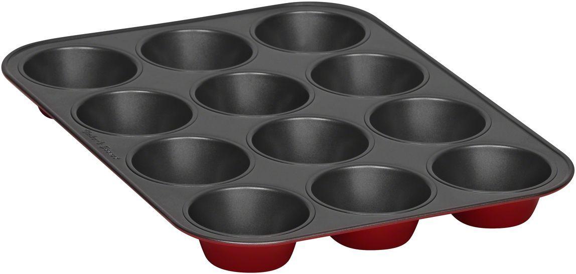 Форма для выпечки маффинов Bakers Secret Colors. Red Velvet, 12 ячеек, цвет: красный. 112321954 009312Коллекция форм для выпечки тортов Bakers Secret из США являются хорошим приобретением любой хозяйки. Данные товары пользуются спросом, поскольку их отличает высокое качество. Формы для запекания Bakers Secret - выполнены из высококачественной стали. Внешнее антипригарное покрытие для удобства ухода и утолщенные стенки гарантируют равномерное пропекание изделия. Стальные формы для запекания стали популярными намного позже чугунных и керамических, и главное их преимущество – это абсолютная химическая нейтральность. Качественная нержавеющая сталь никак не скажется на вкусе готовой пищи и не будет подвержена воздействию кислот и щелочей, содержащихся в моющих средствах. Можно мыть в посудомоечной машине.