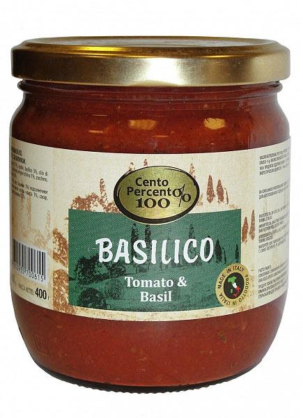 Cento Percento соус томатный с базиликом, 400 г0120710Томатный соус с базиликом Cento Percento - это классическое сочетание спелых томатов и душистого базилика в сопровождении смеси масел, специй и морской соли. Подходит для приготовления пасты, пиццы. Запеченное в нем мясо или рыба приобретают мягкость и аппетитный аромат.