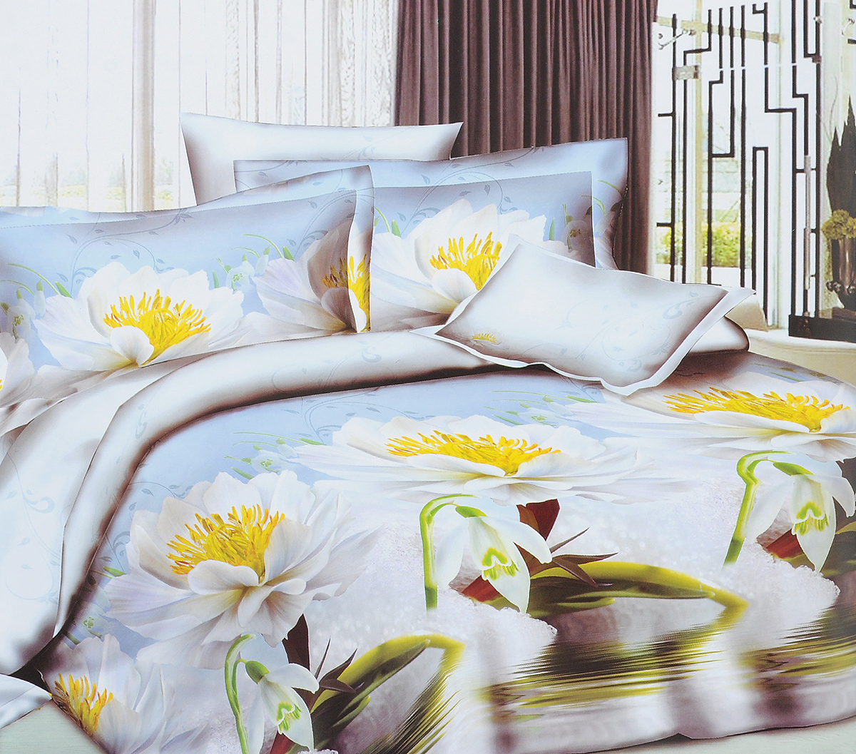 Комплект белья ЭГО Лето, 2-спальный, наволочки 70x70MT-1951Комплект постельного белья ЭГО Лето выполнен из полисатина (50% хлопка, 50% полиэстера). Комплект состоит из пододеяльника, простыни и двух наволочек. Постельное белье, оформленное цветочным принтом, имеет изысканный внешний вид и яркую цветовую гамму. Наволочки застегиваются на клапаны. Гладкая структура делает ткань приятной на ощупь, мягкой и нежной, при этом она прочная и хорошо сохраняет форму. Ткань легко гладится, не линяет и не садится. Благодаря такому комплекту постельного белья вы сможете создать атмосферу роскоши и романтики в вашей спальне.