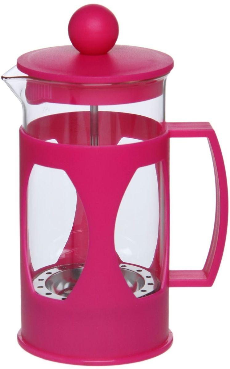 Френч-пресс Доляна Оливер, цвет: фуксия, 350 мл68/5/4Френч-пресс Доляна Оливер — это приспособление для приготовления чая и кофе. Его корпус выполнен из стекла и пластика. Френч-пресс пользуется огромным спросом у любителей этих напитков, ведь изделие довольно простое в использовании и имеет ряд других преимуществ:- чай в нём быстрее заваривается;- емкость позволяет наиболее полно раскрыться вкусовым качествам напитка;- можно готовить кофе и чай с любимыми специями и травами.