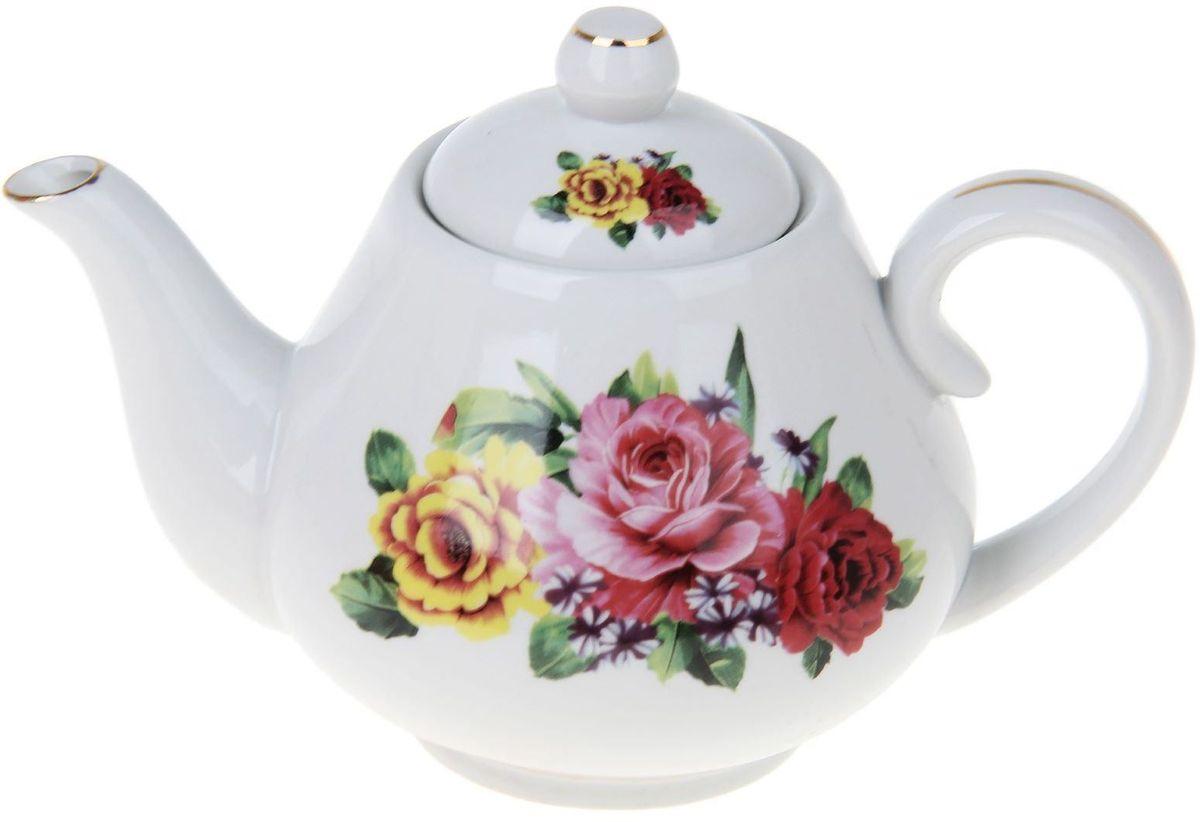 Чайник заварочный Доляна Пышный букет, 900 млVT-1520(SR)Чайник заварочный Доляна выполнен из высококачественной керамики. Посуда отличается прозрачностью и белизной, она неприхотлива и не требует особых условий хранения. Материал изделия долгое время сохраняет тепло, нейтрален к пищевым продуктам, легко моется. Чайник имеет традиционную форму, дополнен ярким цветочным рисунком и золотистой эмалью. Высокие эксплуатационные качества делают изделие удачным выбором для повседневного использования и сервировки праздничного стола.