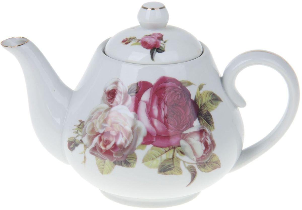 Чайник заварочный Доляна Комплимент, 900 мл54 009312Чайник заварочный Доляна выполнен из высококачественной керамики. Посуда отличается прозрачностью и белизной, она неприхотлива и не требует особых условий хранения. Материал изделия долгое время сохраняет тепло, нейтрален к пищевым продуктам, легко моется. Чайник имеет традиционную форму, дополнен ярким цветочным рисунком и золотистой эмалью. Высокие эксплуатационные качества делают изделие удачным выбором для повседневного использования и сервировки праздничного стола.