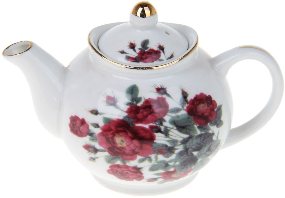 Чайник заварочный Доляна Дикий шиповник, 230 мл54 009312Чайник заварочный Доляна выполнен из высококачественной керамики. Посуда отличается прозрачностью и белизной, она неприхотлива и не требует особых условий хранения. Материал изделия долгое время сохраняет тепло, нейтрален к пищевым продуктам, легко моется. Чайник имеет традиционную форму, дополнен ярким цветочным рисунком и золотистой эмалью. Высокие эксплуатационные качества делают изделие удачным выбором для повседневного использования и сервировки праздничного стола.