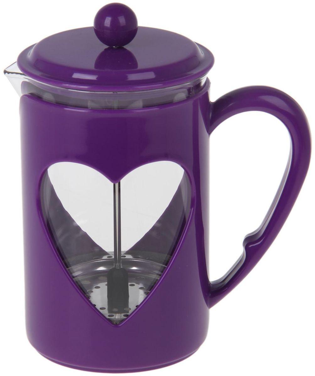 Френч-пресс Доляна Комплимент, цвет: фиолетовый, прозрачный, 800 млFS-91909Френч-пресс Доляна Комплимент - замечательное приспособление для приготовления чая и кофе. Он пользуется огромным спросом у любителей этих напитков, ведь изделие довольно простое в использовании и имеет ряд преимуществ. Чай в нем быстрее заваривается, емкость позволяет наиболее полно раскрыться вкусовым качествам напитка. Вы можете готовить кофе и чай с любимыми специями и травами.Чтобы приготовить кофе, сначала вам нужно перемолоть зерна. Степень помола - грубая. Вскипятите воду. Насыпьте кофе в изделие и медленно залейте его кипятком из чайника. Наполните приспособление до середины, подождите 1 минуту и долейте остальное. Накройте крышкой, пусть напиток настоится еще 3 минуты. Медленно опустите поршень. Оставьте кофе на 3 минуты, чтобы опустился осадок. Ваш напиток готов!