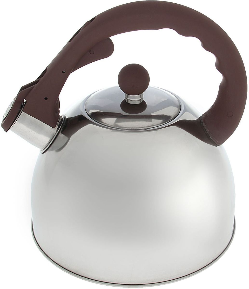 Чайник Доляна Бэйсик, со свистком, цвет: коричневый, стальной, 2,5 лVT-1520(SR)Чайник Доляна Бэйсик выполнен из высококачественной нержавеющей стали. Материал изделия отличается неприхотливостью в уходе, безукоризненной функциональностью, гигиеничностью и стойкостью к коррозии. Чайники из нержавеющей стали абсолютно безопасны для здоровья человека. Благодаря низкой теплопроводности модели вода дольше остается горячей, а качественное дно гарантирует быстрый нагрев. Чайник снабжен фиксированной ручкой из пластика с приятным на ощупь покрытием Soft-Touch. Свисток на носике чайника громко оповестит, когда закипела вода. Свисток открывается нажатием кнопки на рукоятке. Подходит для газовых, электрических, стеклокерамических, галогеновых, индукционных плит.