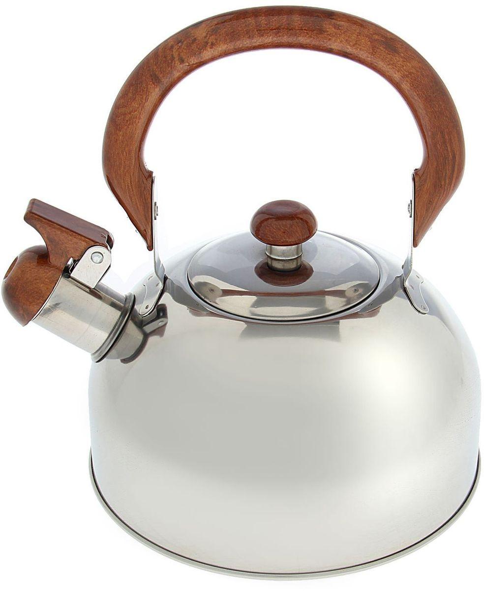 Чайник Доляна Палисандр, со свистком, 2 л391602Чайник Доляна Палисандр выполнен из высококачественной нержавеющей стали. Материал изделия отличается неприхотливостью в уходе, безукоризненной функциональностью, гигиеничностью и стойкостью к коррозии. Чайники из нержавеющей стали абсолютно безопасны для здоровья человека. Благодаря низкой теплопроводности и оптимальному соотношению дна и стенок вода дольше остается горячей, а качественное дно гарантирует быстрый нагрев. Чайник при кипячении сохраняет все полезные свойства воды. Чайник снабжен подвижной пластиковой ручкой с декором под дерево. Удобная ручка не нагревается, и поэтому вероятность ожогов сводится к минимуму. Откидной свисток на носике чайника громко оповестит, когда закипела вода. Подходит для газовых, электрических, стеклокерамических, галогеновых, индукционных плит. Рекомендуется ручная мойка.
