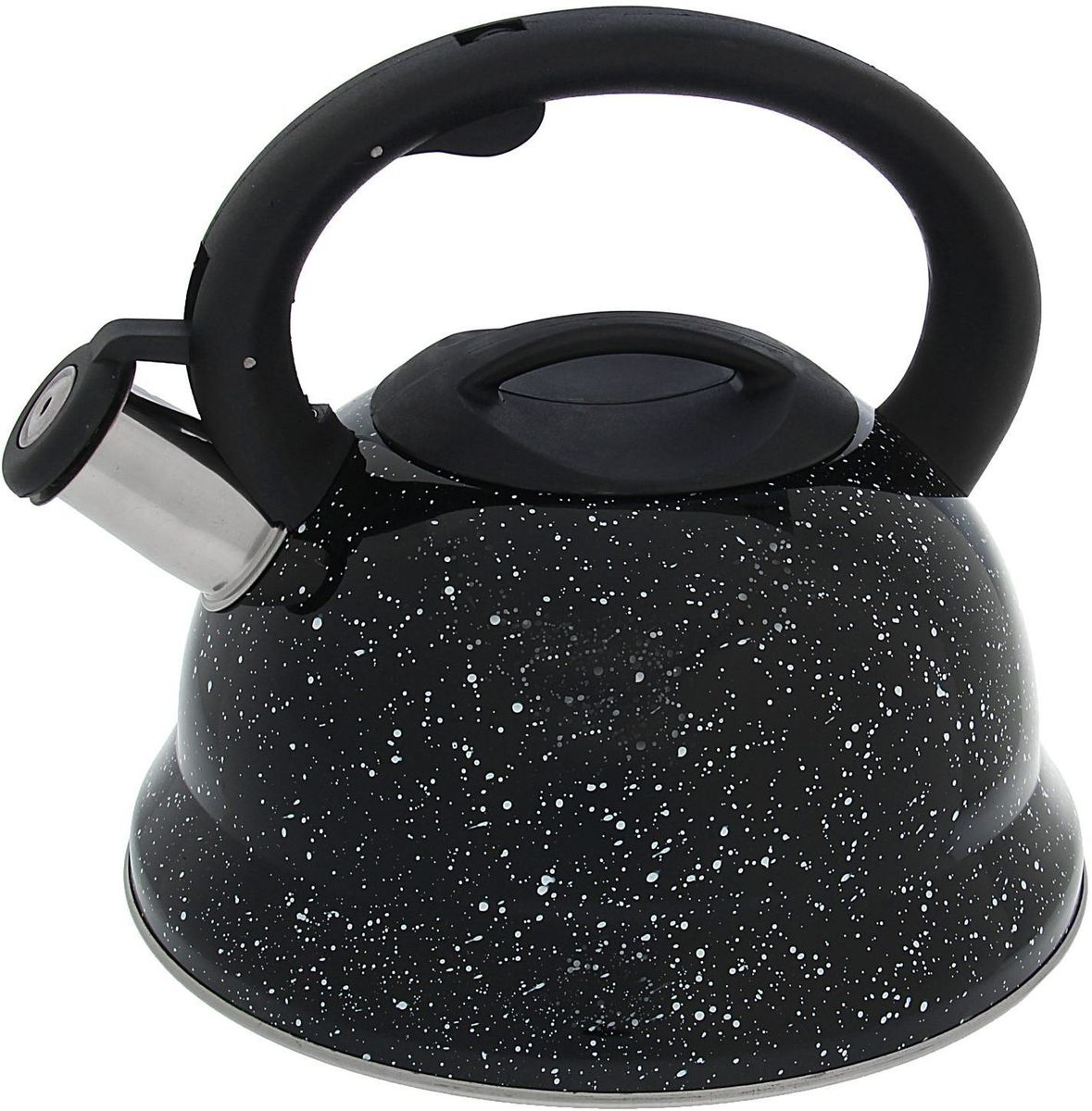 Чайник Доляна Рио, со свистком, цвет: черный, 2,8 л1405205Чайник Доляна Рио выполнен из высококачественной нержавеющей стали. Материал изделия отличается неприхотливостью в уходе, безукоризненной функциональностью, гигиеничностью и стойкостью к коррозии. Чайники из нержавеющей стали абсолютно безопасны для здоровья человека. Благодаря низкой теплопроводности и оптимальному соотношению дна и стенок вода дольше остается горячей, а качественное дно гарантирует быстрый нагрев. Чайник при кипячении сохраняет все полезные свойства воды. Чайник снабжен фиксированной пластиковой ручкой. Удобная ручка не нагревается, и поэтому вероятность ожогов сводится к минимуму. Свисток на носике чайника громко оповестит, когда закипела вода. Свисток открывается нажатием кнопки на рукоятке. Внешние стенки выполнены под мрамор. Подходит для газовых, электрических, стеклокерамических, галогеновых, индукционных плит. Рекомендуется ручная мойка.
