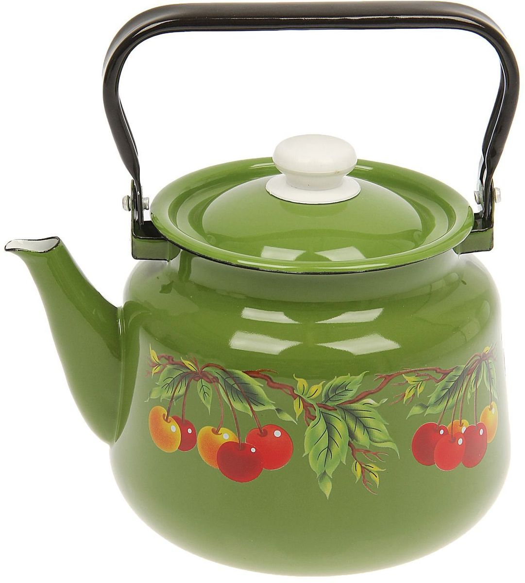 Чайник эмалированный Epos Зеленая вишня, 3,5 л391602Чайник Epos Зеленая вишня выполнен из высококачественной стали с эмалированным покрытием. Поверхность чайникагладкая, что облегчает уход за ним. Большой объемпозволит приготовить напиток для всей семьи илинебольшой компании. Эстетичный и функциональный чайник будеторигинально смотреться в любом интерьере. Душевная атмосфера и со вкусом накрытый стол всегда будут собирать в вашем доме близких и друзей.Чайник подходит для использования на всех типах плит,включая индукционные. Объем: 3,5 л.