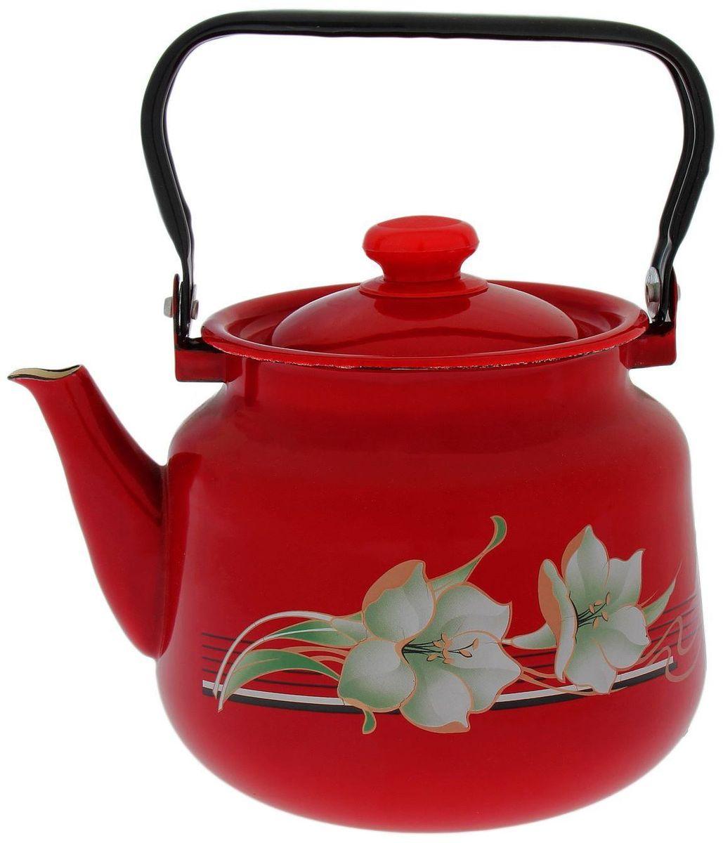 Чайник эмалированный Epos Темно-красная лилия, 3,5 л1770691Чайник Epos Темно-красная лилия выполнен из высококачественной стали с эмалированным покрытием. Поверхность чайникагладкая, что облегчает уход за ним. Большой объемпозволит приготовить напиток для всей семьи илинебольшой компании. Эстетичный и функциональный чайник будеторигинально смотреться в любом интерьере. Душевная атмосфера и со вкусом накрытый стол всегда будут собирать в вашем доме близких и друзей.Чайник подходит для использования на всех типах плит. Объем: 3,5 л.