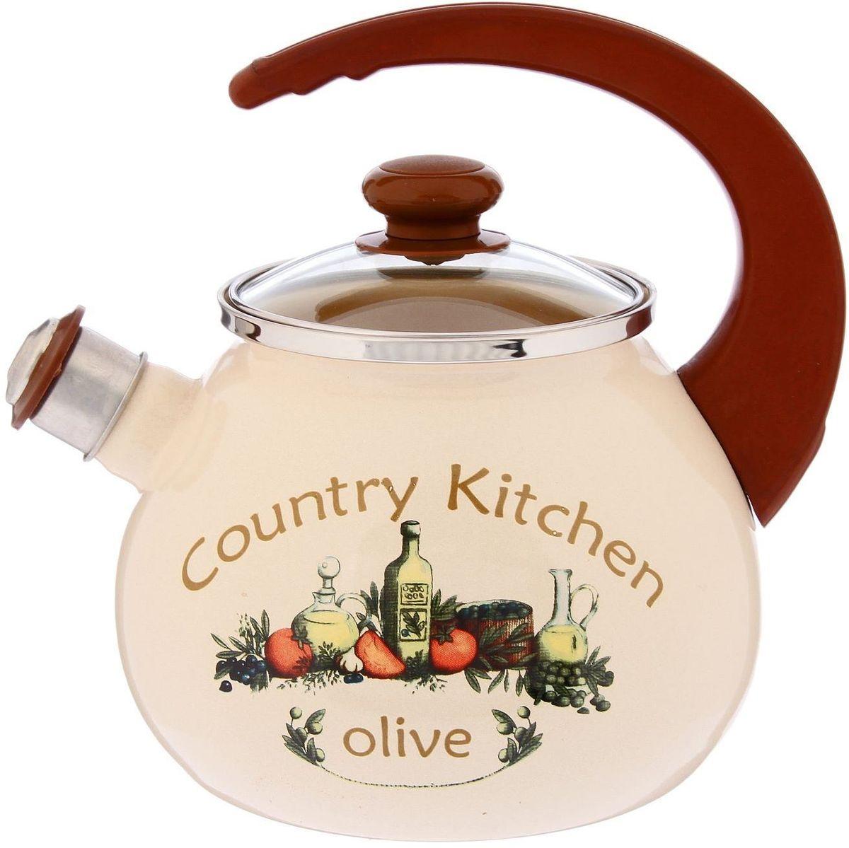 Чайник эмалированный Epos Olive, 2,5 л391602Чайник Epos Olive выполнен из высококачественной стали с эмалированным покрытием. Изделие оснащено стеклянной крышкой и свистком.Поверхность чайникагладкая, что облегчает уход за ним. Большой объемпозволит приготовить напиток для всей семьи илинебольшой компании. Эстетичный и функциональный чайник будеторигинально смотреться в любом интерьере. Чайник подходит для использования на всех типах плит,включая индукционные. Объем: 2,5 л.