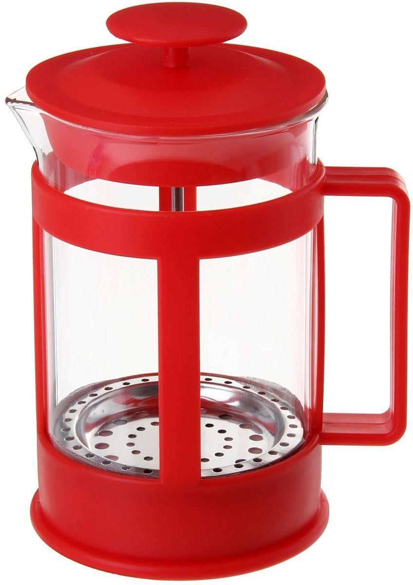 Френч-пресс Доляна Классика, цвет: красный, прозрачный, 350 мл54 009312Френч-пресс Доляна Классика - замечательное приспособление для приготовления чая и кофе. Он пользуется огромным спросом у любителей этих напитков, ведь изделие довольно простое в использовании и имеет ряд преимуществ. Чай в нем быстрее заваривается, емкость позволяет наиболее полно раскрыться вкусовым качествам напитка. Вы можете готовить кофе и чай с любимыми специями и травами.Чтобы приготовить кофе, сначала вам нужно перемолоть зерна. Степень помола - грубая. Вскипятите воду. Насыпьте кофе в изделие и медленно залейте его кипятком из чайника. Наполните приспособление до середины, подождите 1 минуту и долейте остальное. Накройте крышкой, пусть напиток настоится еще 3 минуты. Медленно опустите поршень. Оставьте кофе на 3 минуты, чтобы опустился осадок. Ваш напиток готов!