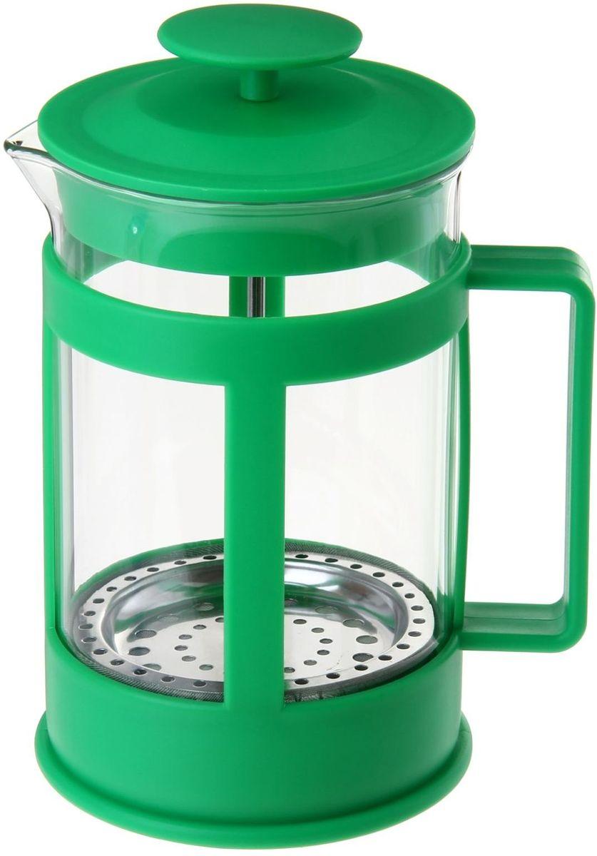 Френч-пресс Доляна Классика, цвет: зеленый, прозрачный, 800 мл54 009312Френч-пресс Доляна Классика - замечательное приспособление для приготовления чая и кофе. Он пользуется огромным спросом у любителей этих напитков, ведь изделие довольно простое в использовании и имеет ряд преимуществ. Чай в нем быстрее заваривается, емкость позволяет наиболее полно раскрыться вкусовым качествам напитка. Вы можете готовить кофе и чай с любимыми специями и травами.Чтобы приготовить кофе, сначала вам нужно перемолоть зерна. Степень помола - грубая. Вскипятите воду. Насыпьте кофе в изделие и медленно залейте его кипятком из чайника. Наполните приспособление до середины, подождите 1 минуту и долейте остальное. Накройте крышкой, пусть напиток настоится еще 3 минуты. Медленно опустите поршень. Оставьте кофе на 3 минуты, чтобы опустился осадок. Ваш напиток готов!