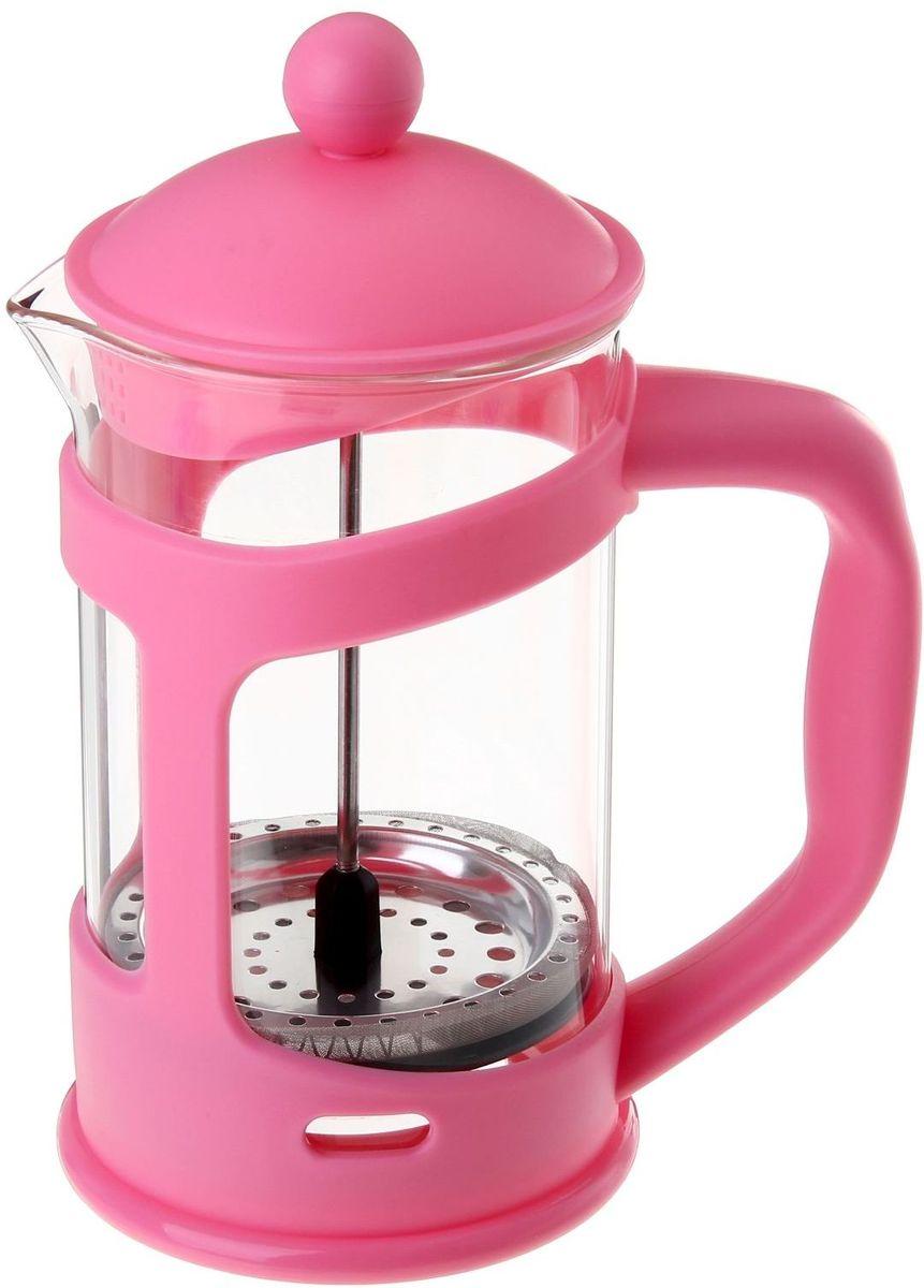 Френч-пресс Доляна Домашнее тепло, цвет: розовый, прозрачный, 800 мл54 009312Френч-пресс Доляна Домашнее тепло - замечательное приспособление для приготовления чая и кофе. Он пользуется огромным спросом у любителей этих напитков, ведь изделие довольно простое в использовании и имеет ряд преимуществ. Чай в нем быстрее заваривается, емкость позволяет наиболее полно раскрыться вкусовым качествам напитка. Вы можете готовить кофе и чай с любимыми специями и травами.Чтобы приготовить кофе, сначала вам нужно перемолоть зерна. Степень помола - грубая. Вскипятите воду. Насыпьте кофе в изделие и медленно залейте его кипятком из чайника. Наполните приспособление до середины, подождите 1 минуту и долейте остальное. Накройте крышкой, пусть напиток настоится еще 3 минуты. Медленно опустите поршень. Оставьте кофе на 3 минуты, чтобы опустился осадок. Ваш напиток готов!
