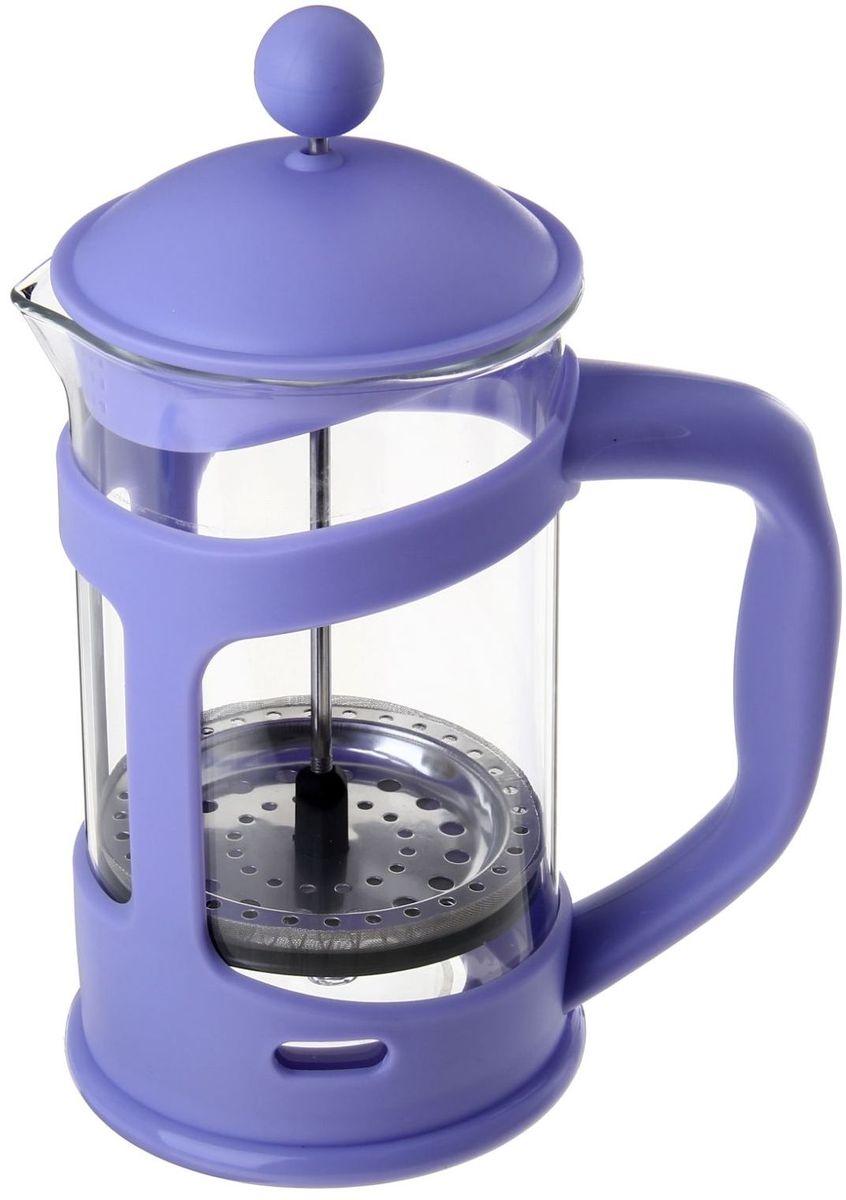 Френч-пресс Доляна Домашнее тепло, цвет: сиреневый, прозрачный, 800 мл863197Френч-пресс Доляна Домашнее тепло - замечательное приспособление для приготовления чая и кофе. Он пользуется огромным спросом у любителей этих напитков, ведь изделие довольно простое в использовании и имеет ряд преимуществ. Чай в нем быстрее заваривается, емкость позволяет наиболее полно раскрыться вкусовым качествам напитка. Вы можете готовить кофе и чай с любимыми специями и травами.Чтобы приготовить кофе, сначала вам нужно перемолоть зерна. Степень помола - грубая. Вскипятите воду. Насыпьте кофе в изделие и медленно залейте его кипятком из чайника. Наполните приспособление до середины, подождите 1 минуту и долейте остальное. Накройте крышкой, пусть напиток настоится еще 3 минуты. Медленно опустите поршень. Оставьте кофе на 3 минуты, чтобы опустился осадок. Ваш напиток готов!
