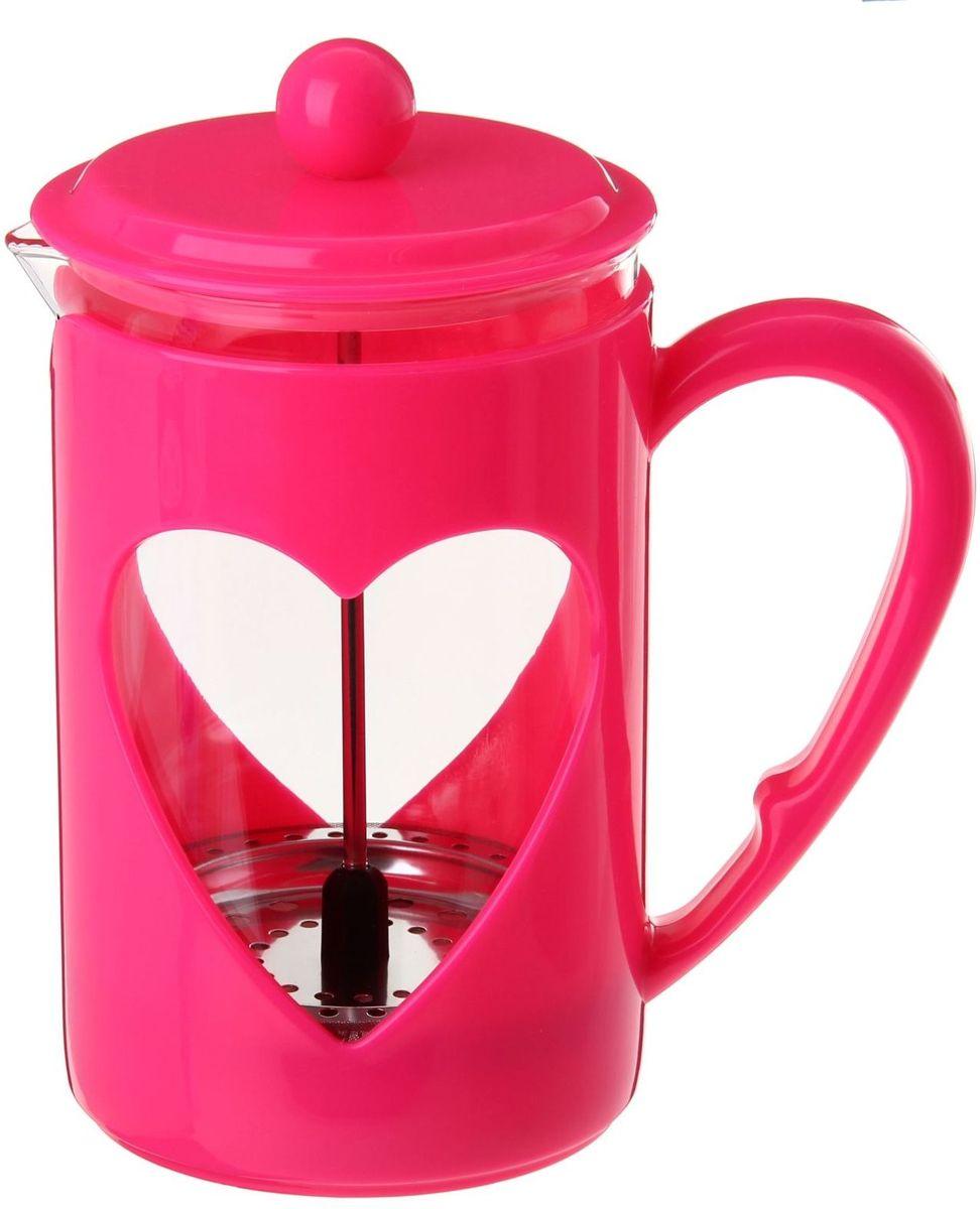 Френч-пресс Доляна Комплимент, цвет: малиновый, прозрачный, 350 мл863203Френч-пресс Доляна Комплимент - замечательное приспособление для приготовления чая и кофе. Он пользуется огромным спросом у любителей этих напитков, ведь изделие довольно простое в использовании и имеет ряд преимуществ. Чай в нем быстрее заваривается, емкость позволяет наиболее полно раскрыться вкусовым качествам напитка. Вы можете готовить кофе и чай с любимыми специями и травами.Чтобы приготовить кофе, сначала вам нужно перемолоть зерна. Степень помола - грубая. Вскипятите воду. Насыпьте кофе в изделие и медленно залейте его кипятком из чайника. Наполните приспособление до середины, подождите 1 минуту и долейте остальное. Накройте крышкой, пусть напиток настоится еще 3 минуты. Медленно опустите поршень. Оставьте кофе на 3 минуты, чтобы опустился осадок. Ваш напиток готов!
